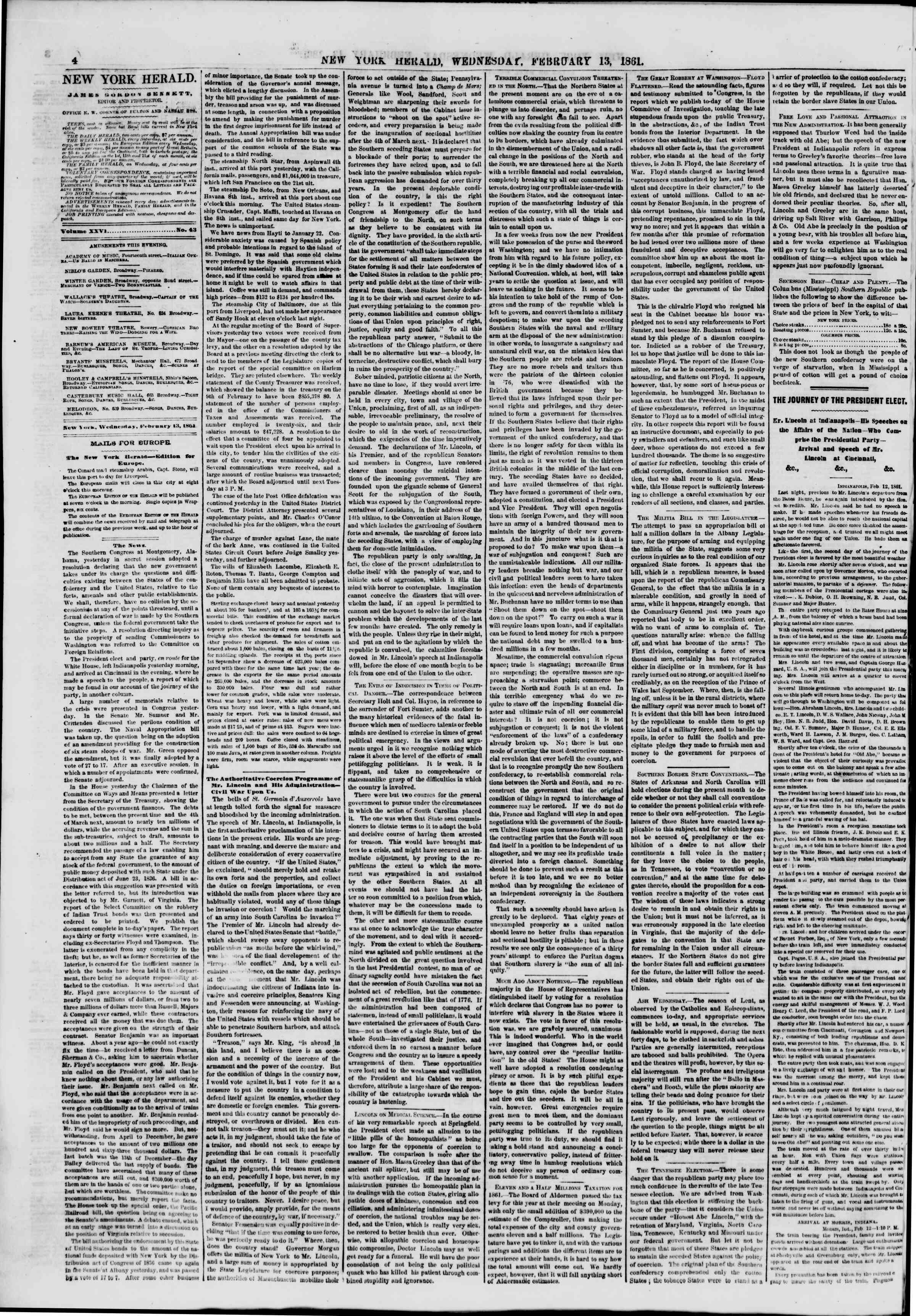 Newspaper of The New York Herald dated February 13, 1861 Page 4