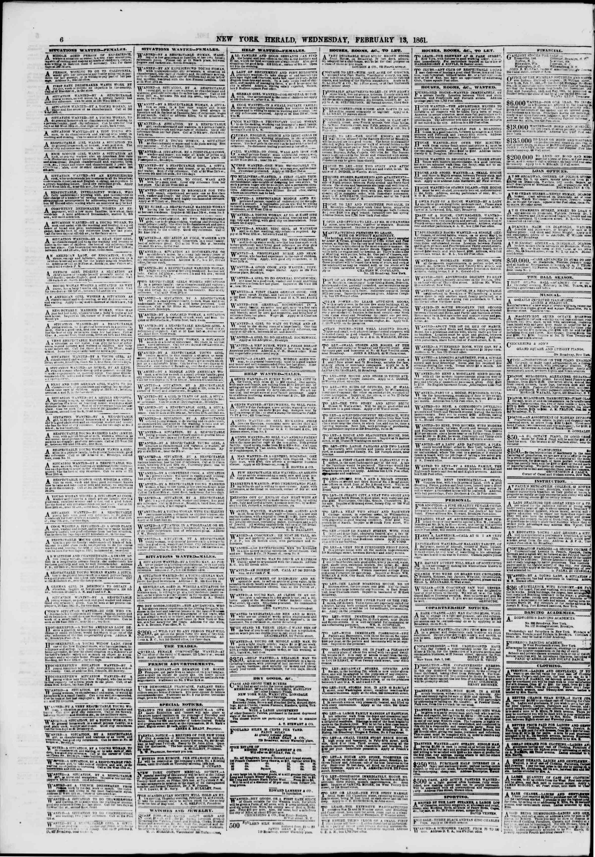 Newspaper of The New York Herald dated February 13, 1861 Page 6