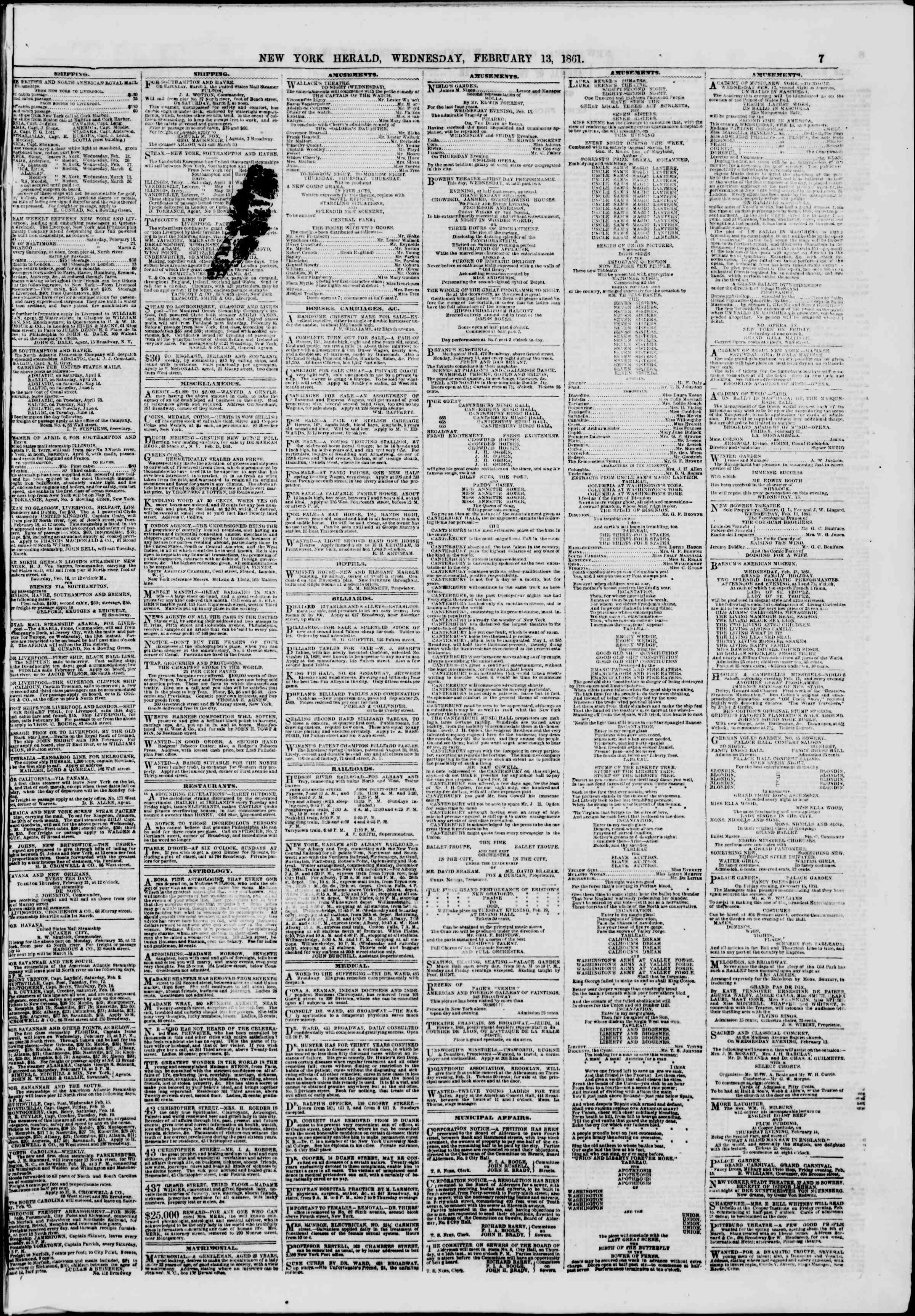 Newspaper of The New York Herald dated February 13, 1861 Page 7