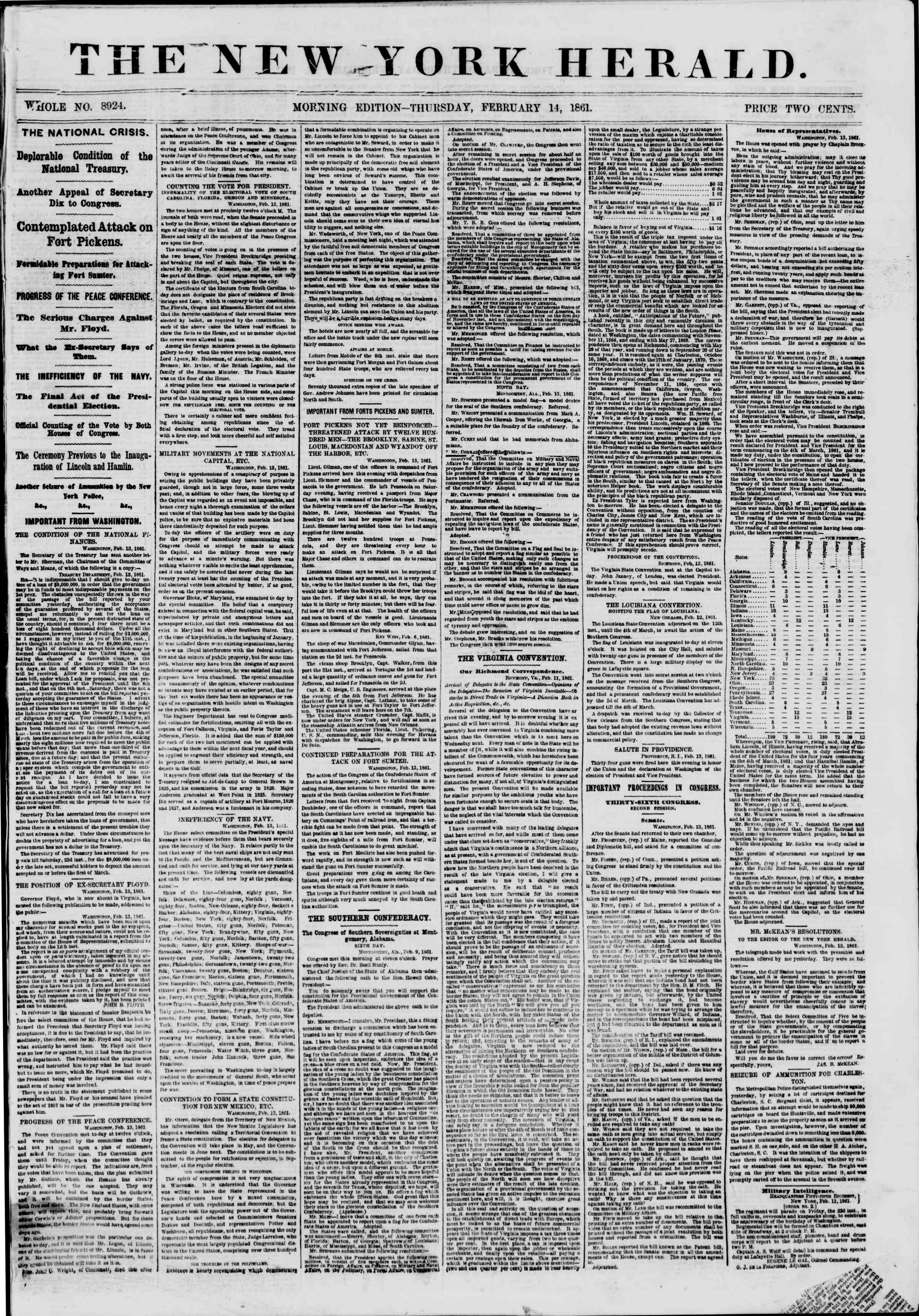 Newspaper of The New York Herald dated February 14, 1861 Page 1