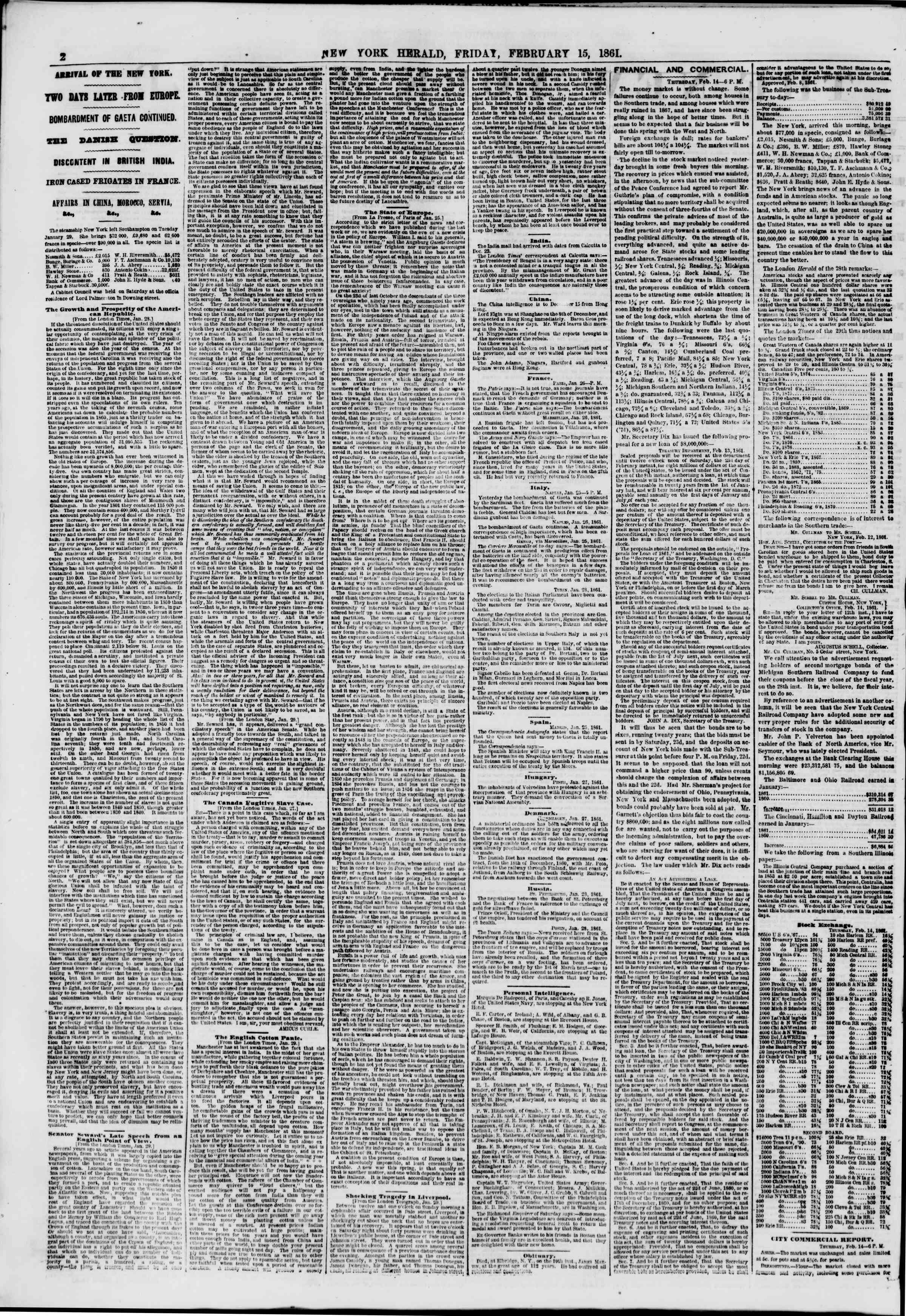 Newspaper of The New York Herald dated 15 Şubat 1861 Page 2