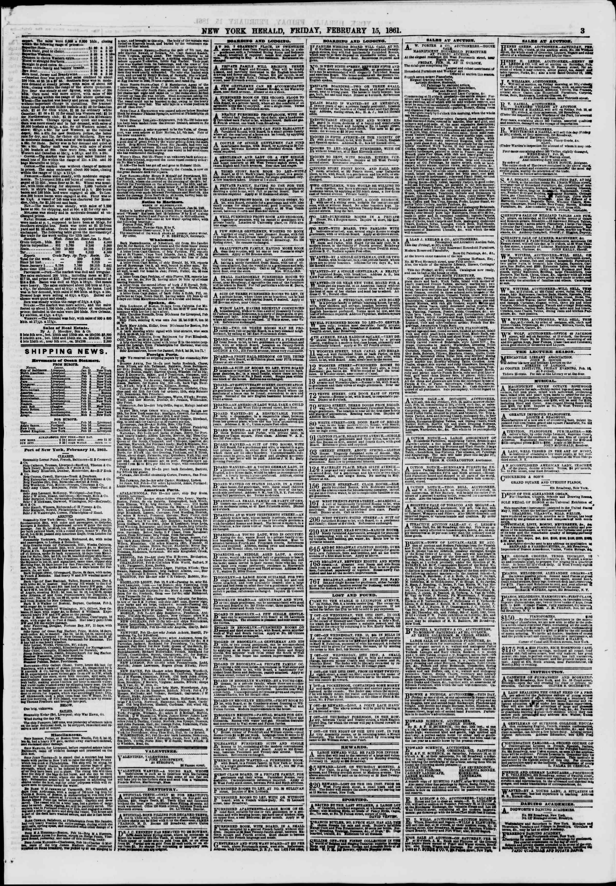 Newspaper of The New York Herald dated February 15, 1861 Page 3