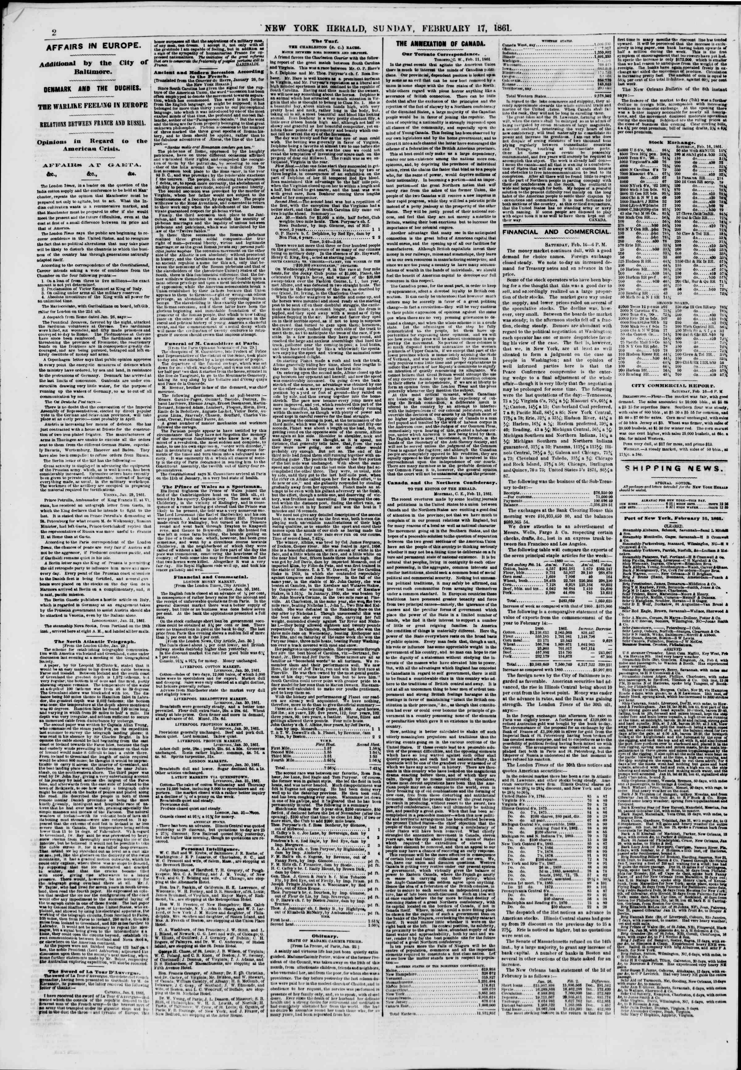 Newspaper of The New York Herald dated February 17, 1861 Page 2