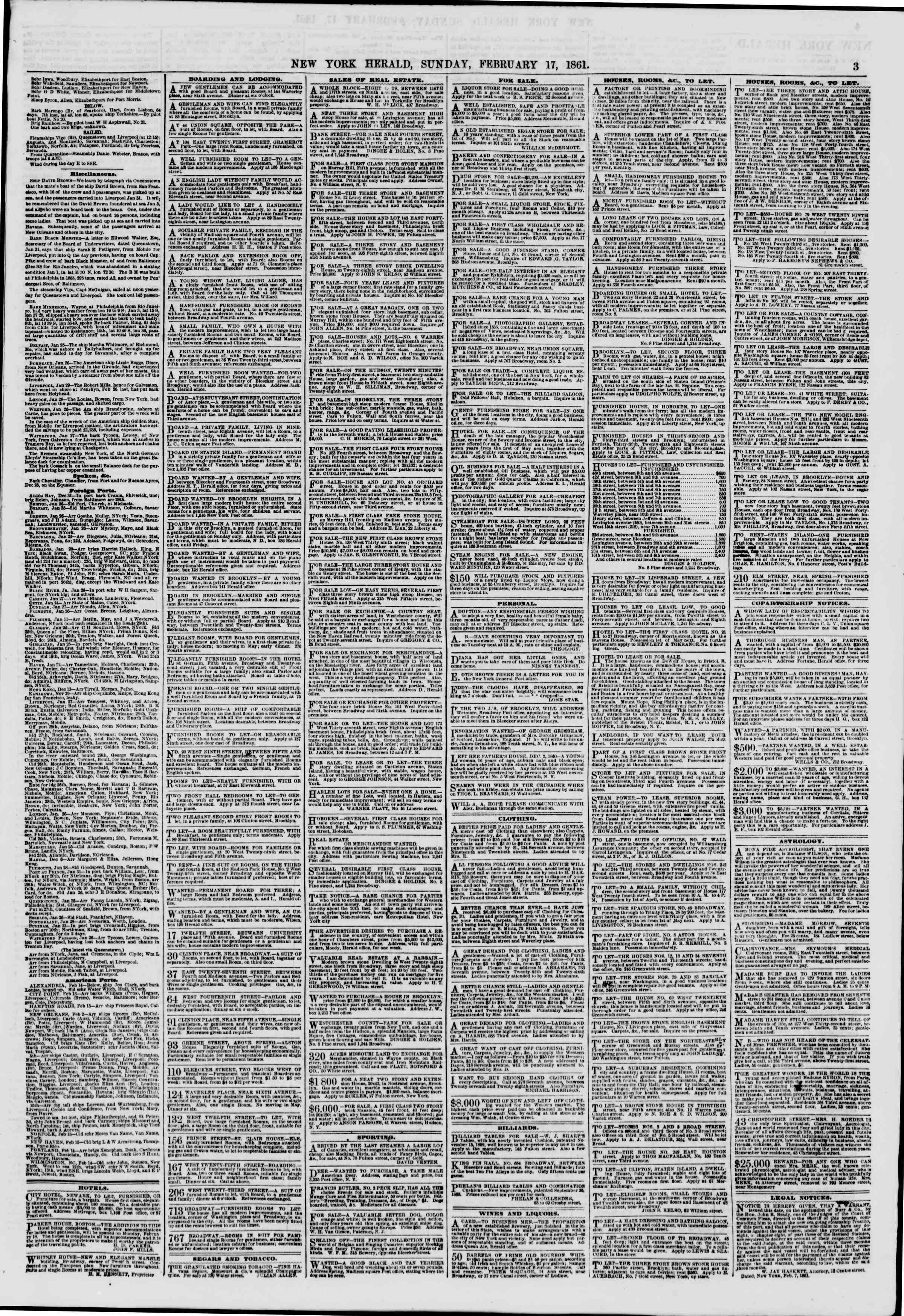 Newspaper of The New York Herald dated February 17, 1861 Page 3