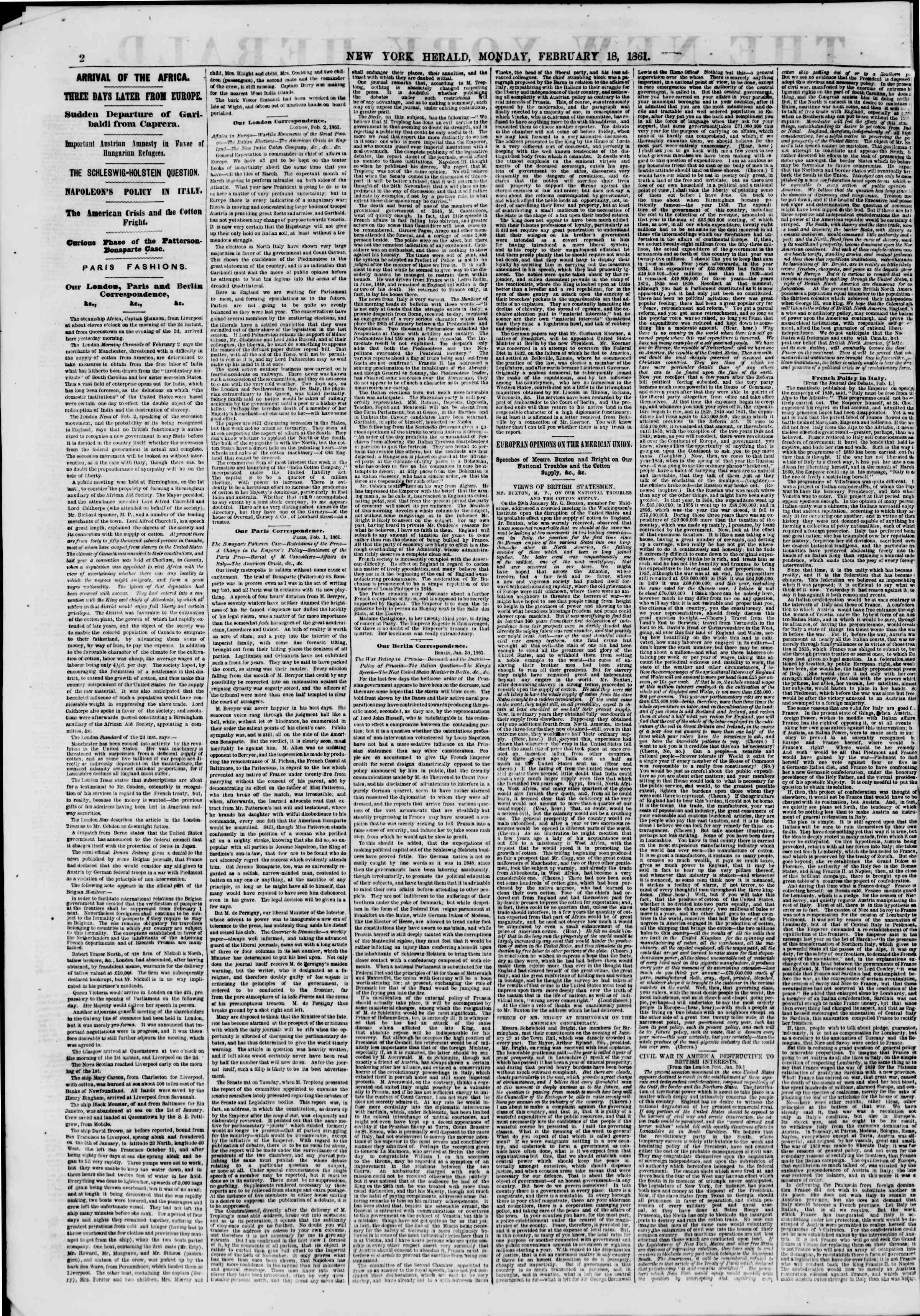 Newspaper of The New York Herald dated February 18, 1861 Page 2