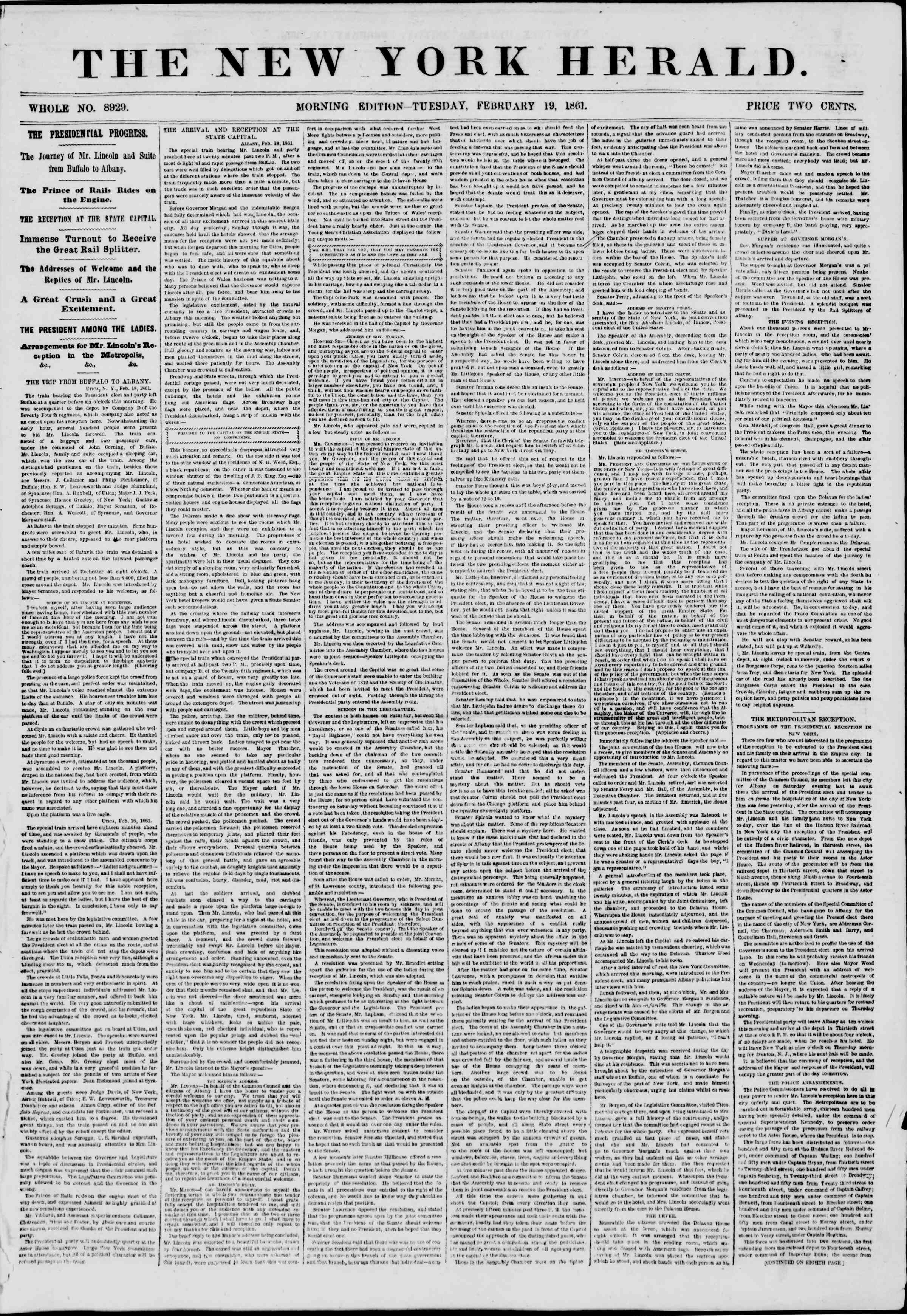 Newspaper of The New York Herald dated February 19, 1861 Page 1