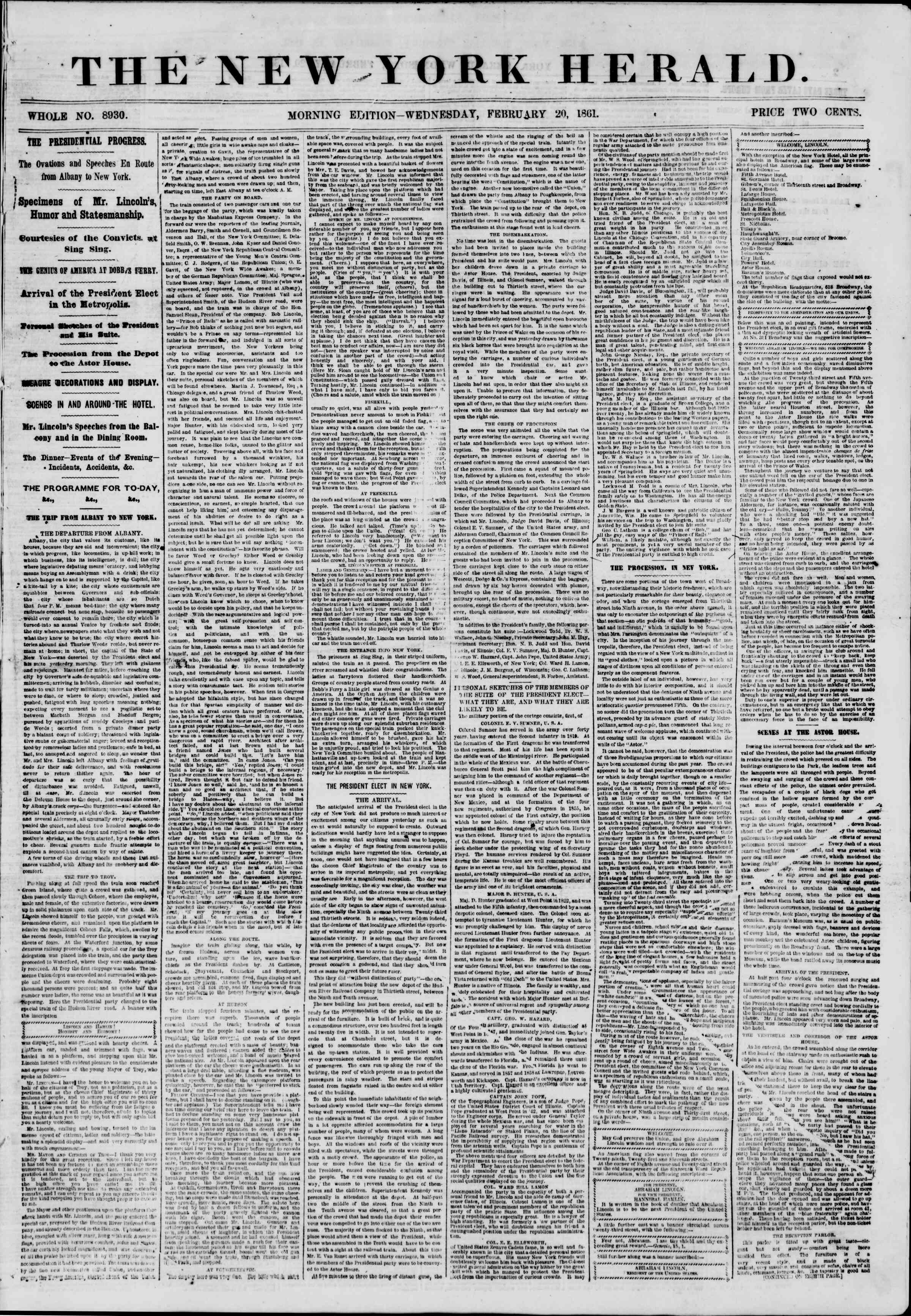 Newspaper of The New York Herald dated February 20, 1861 Page 1
