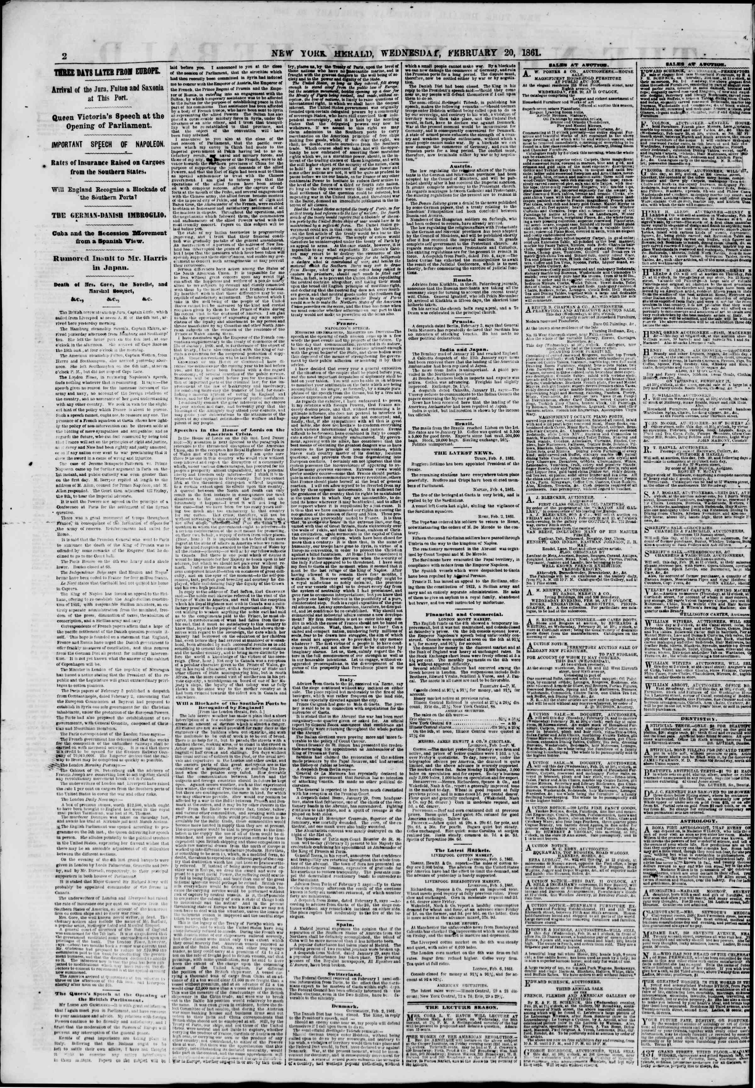 Newspaper of The New York Herald dated February 20, 1861 Page 2