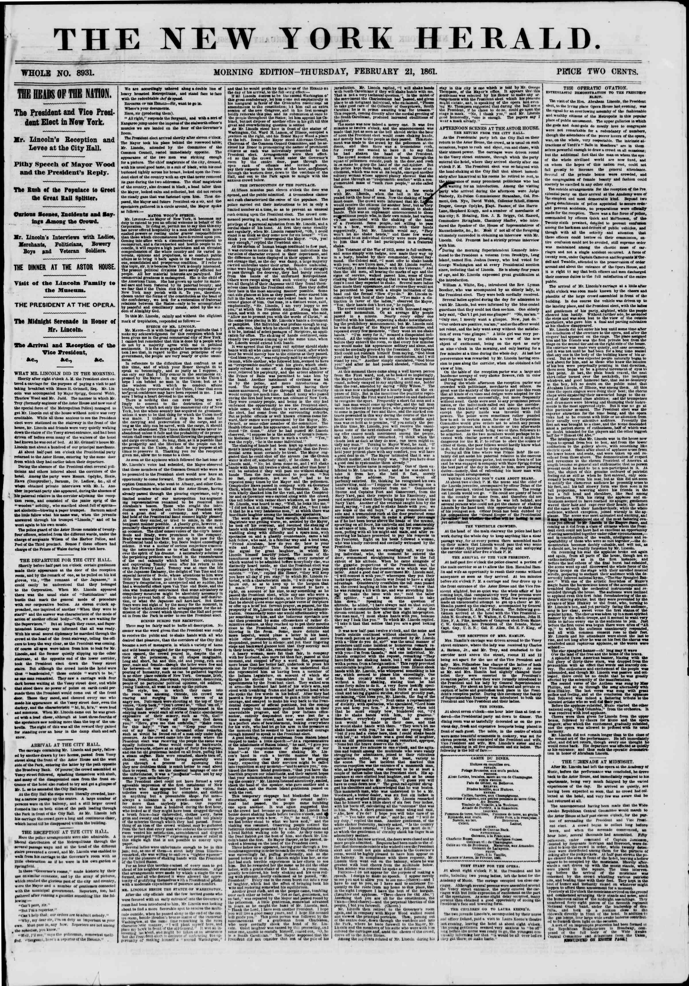 Newspaper of The New York Herald dated February 21, 1861 Page 1