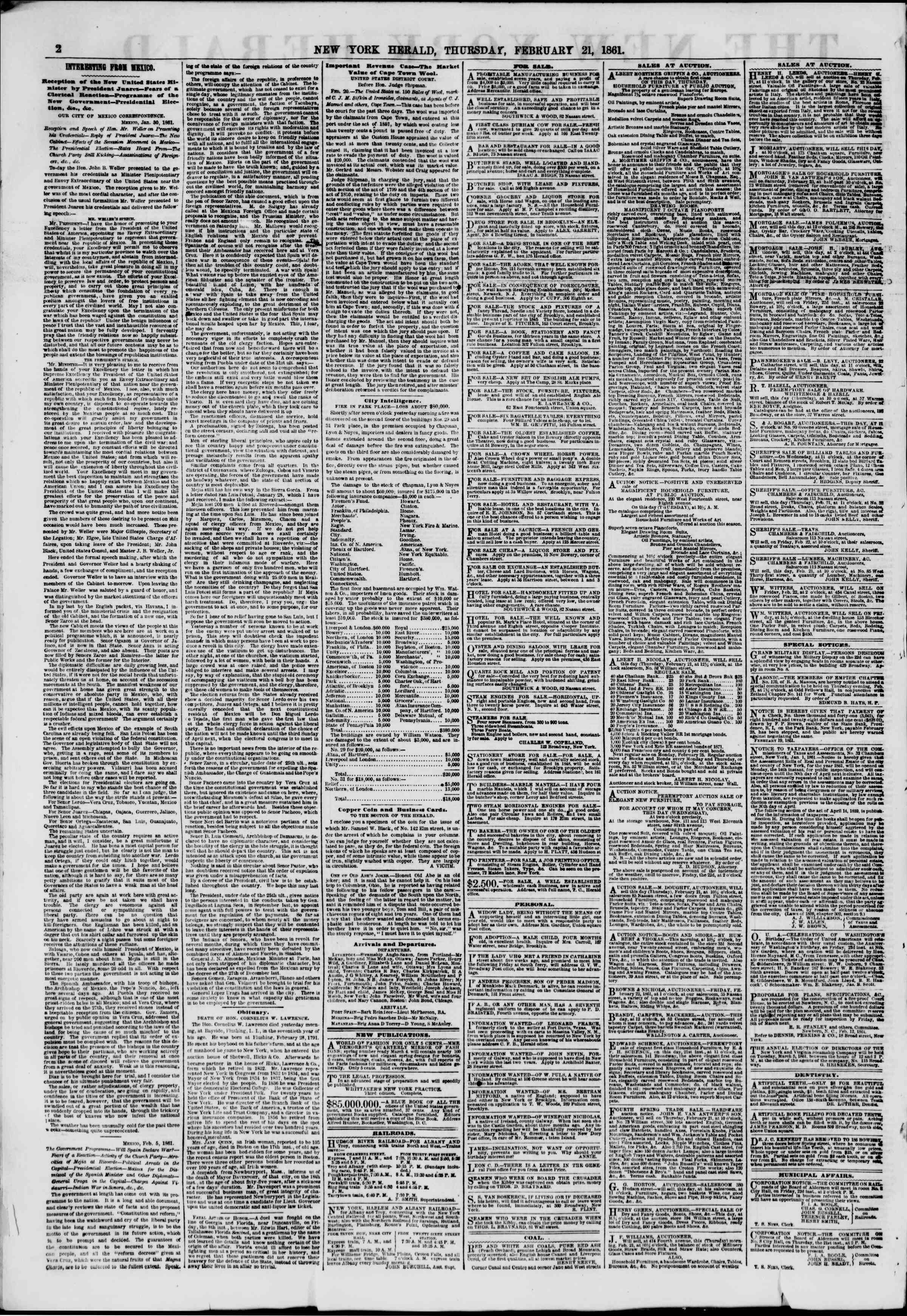 Newspaper of The New York Herald dated February 21, 1861 Page 2