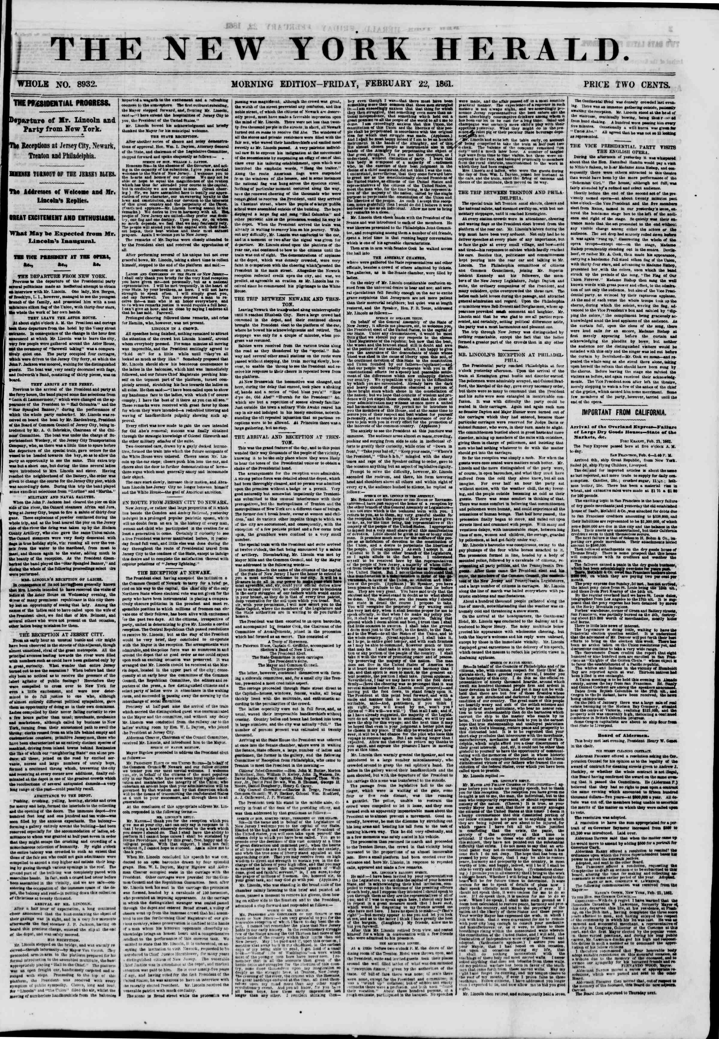 Newspaper of The New York Herald dated February 22, 1861 Page 1