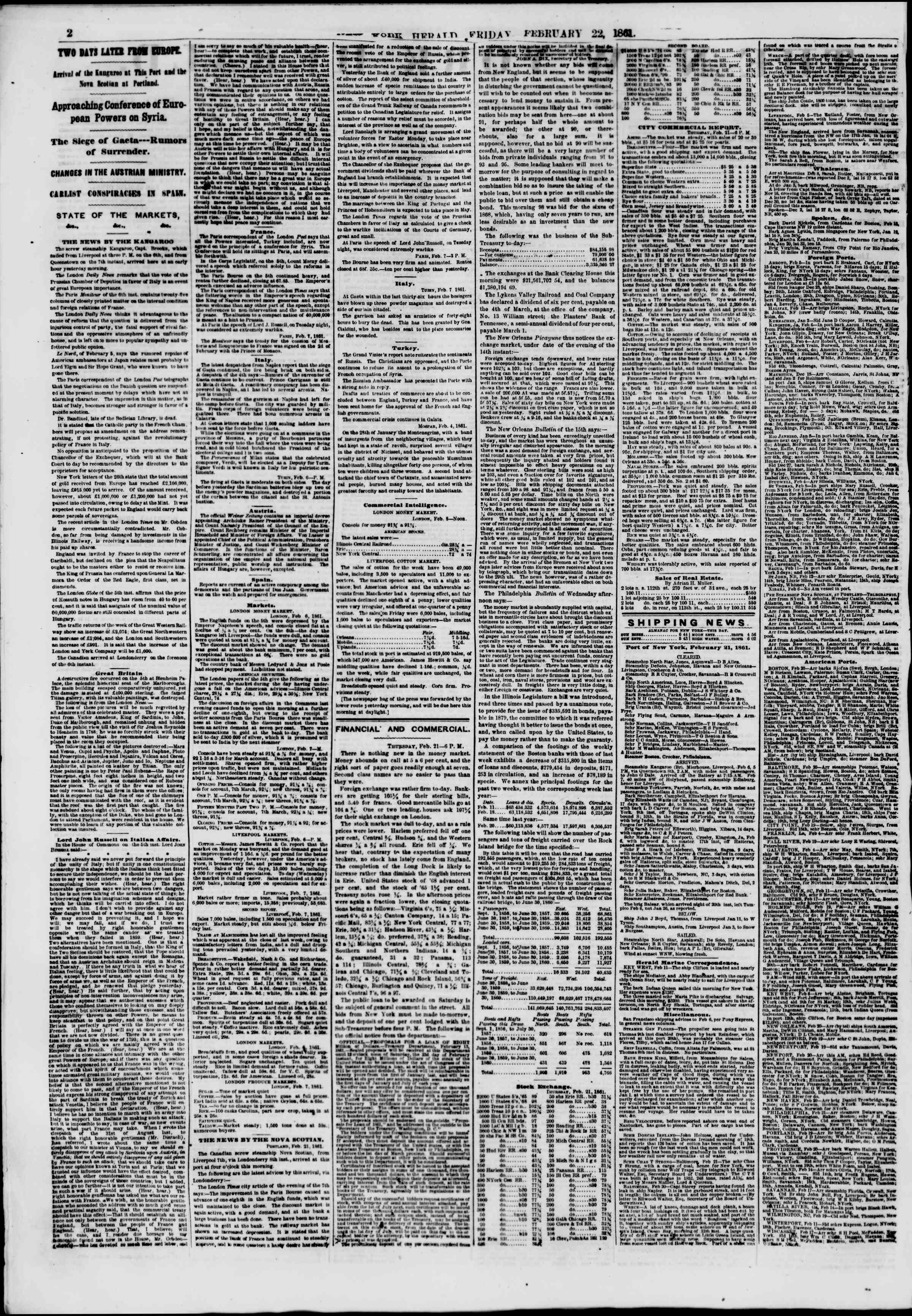 Newspaper of The New York Herald dated February 22, 1861 Page 2