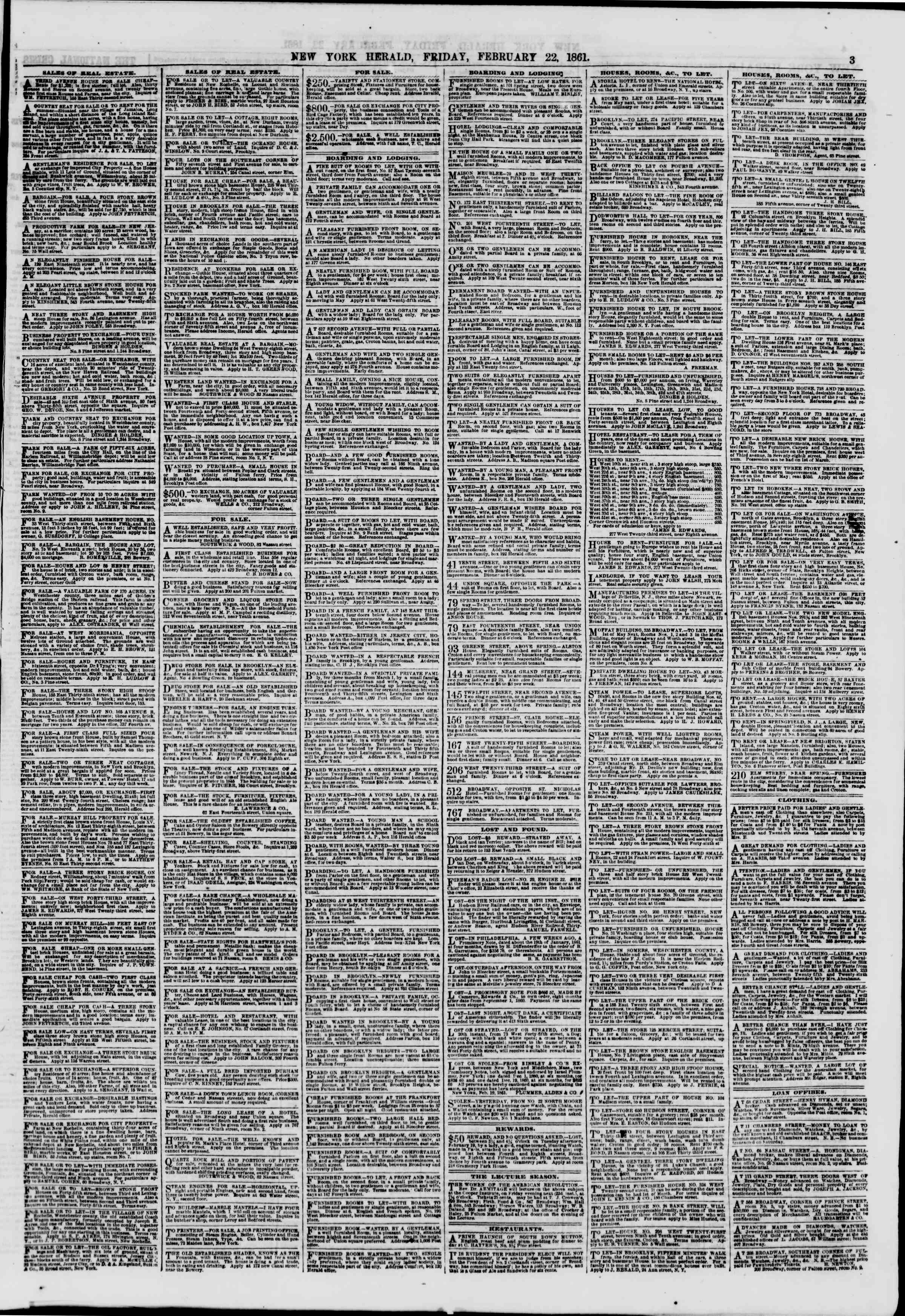 Newspaper of The New York Herald dated February 22, 1861 Page 3
