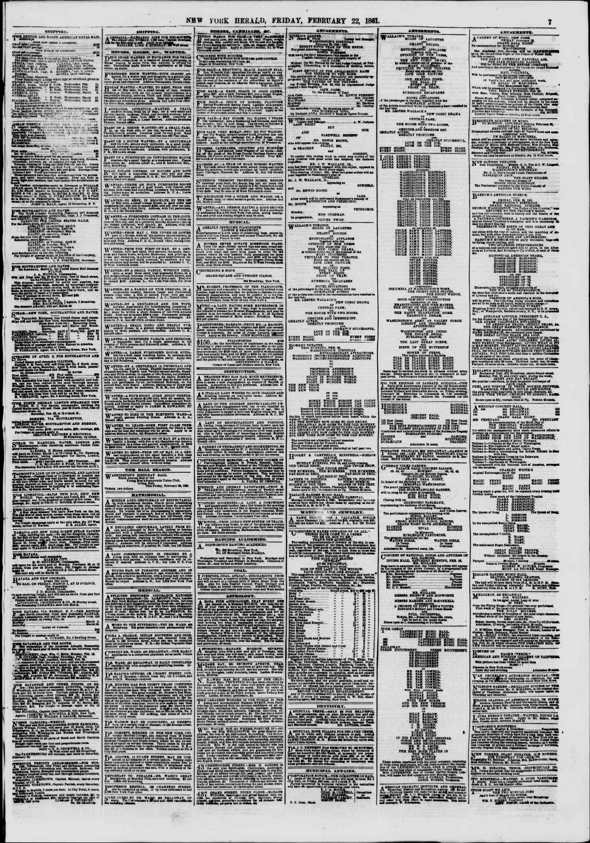 Newspaper of The New York Herald dated February 22, 1861 Page 7