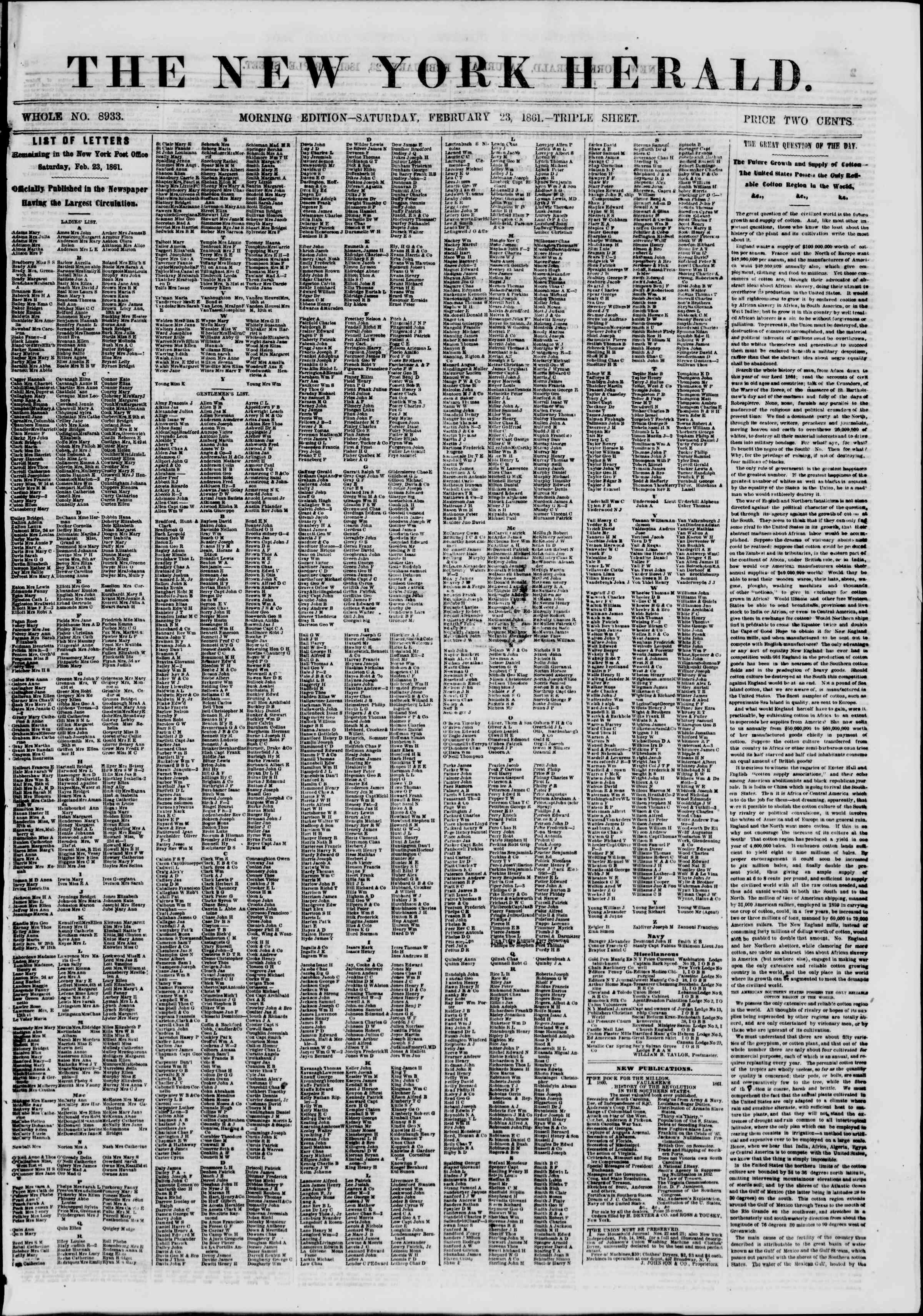 Newspaper of The New York Herald dated 23 Şubat 1861 Page 1