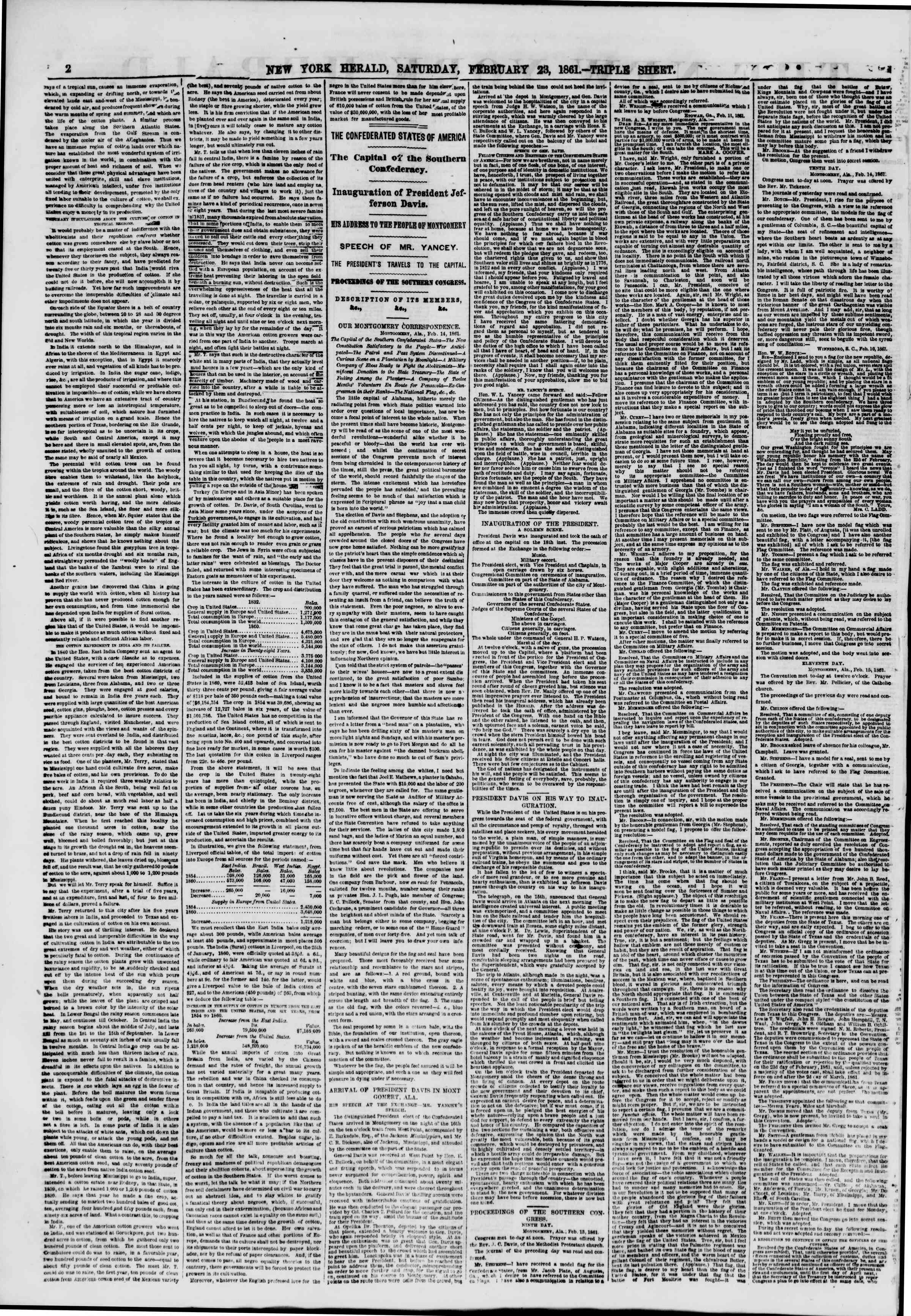 Newspaper of The New York Herald dated February 23, 1861 Page 2
