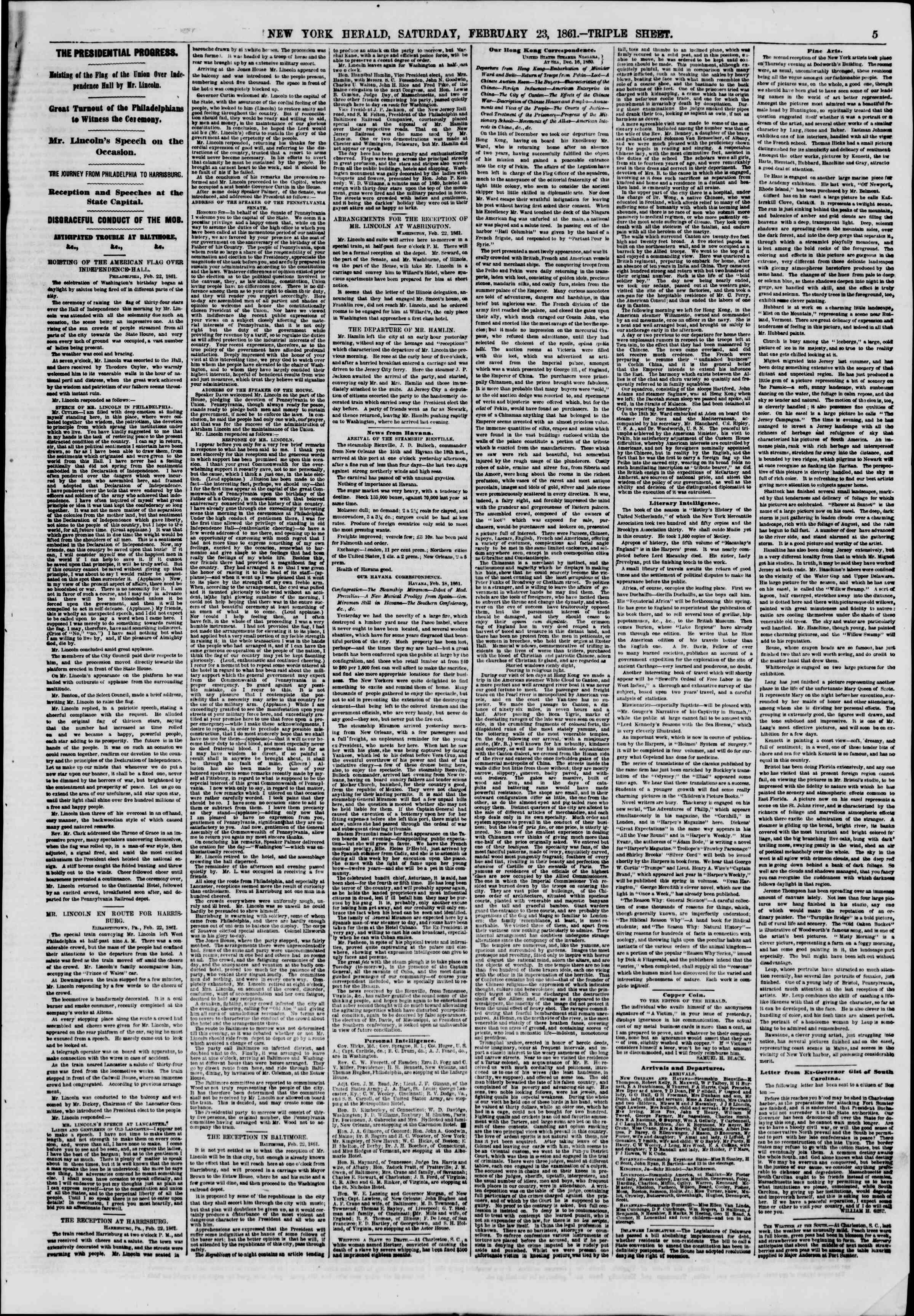 Newspaper of The New York Herald dated 23 Şubat 1861 Page 5