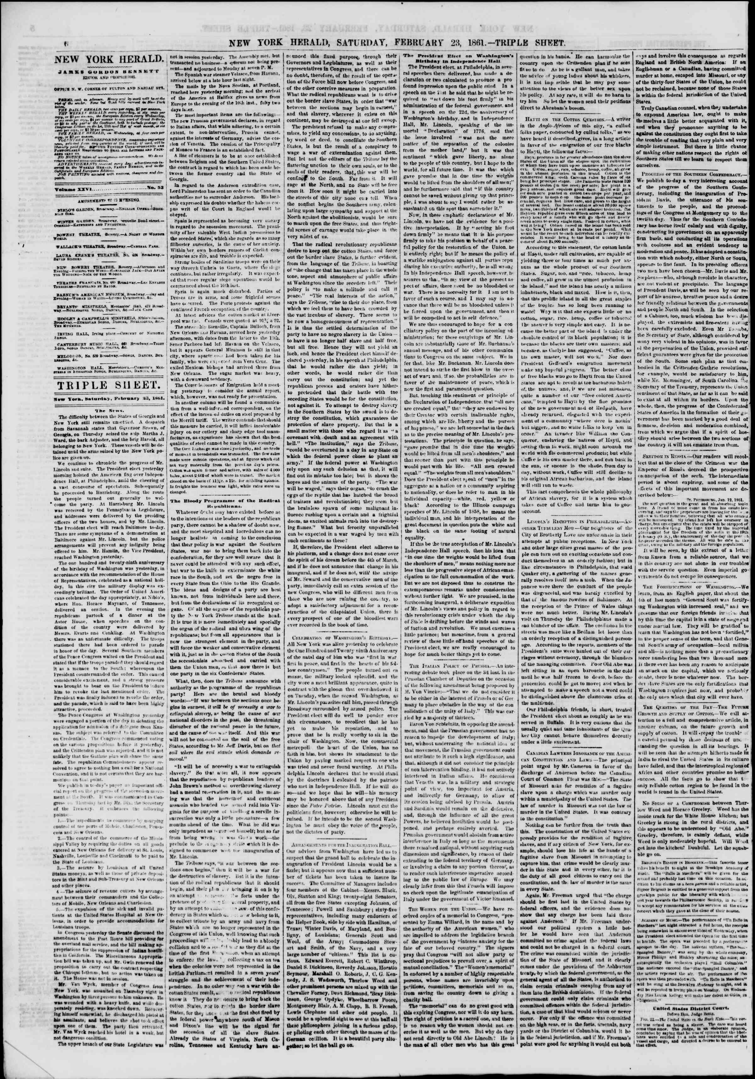 Newspaper of The New York Herald dated February 23, 1861 Page 6