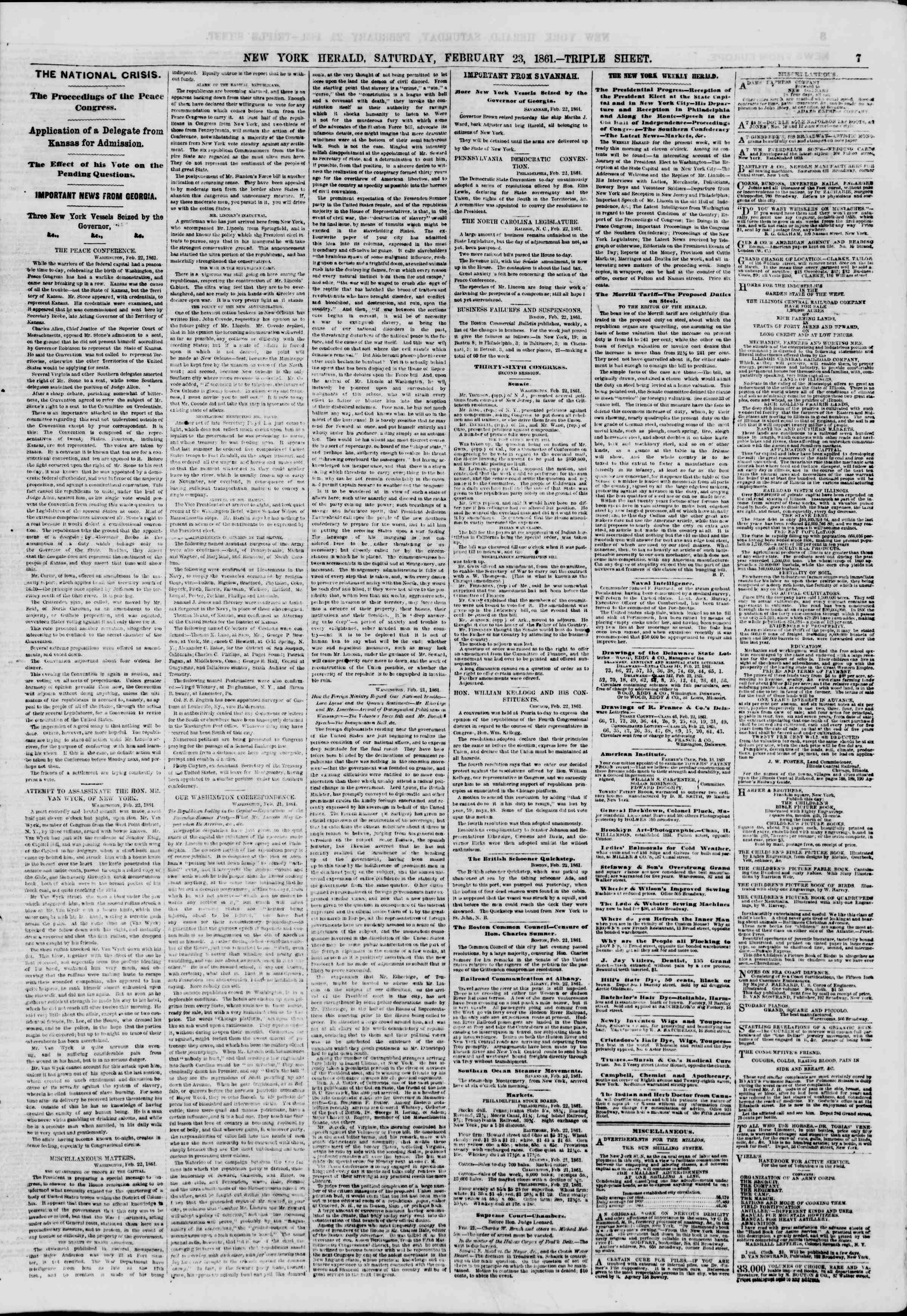 Newspaper of The New York Herald dated 23 Şubat 1861 Page 7