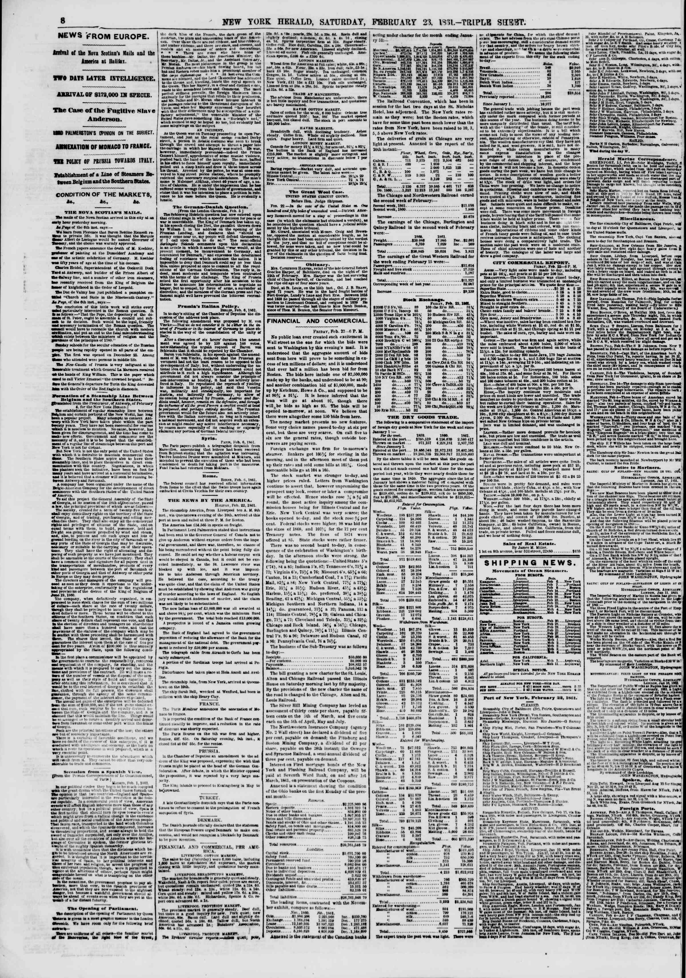 Newspaper of The New York Herald dated February 23, 1861 Page 8