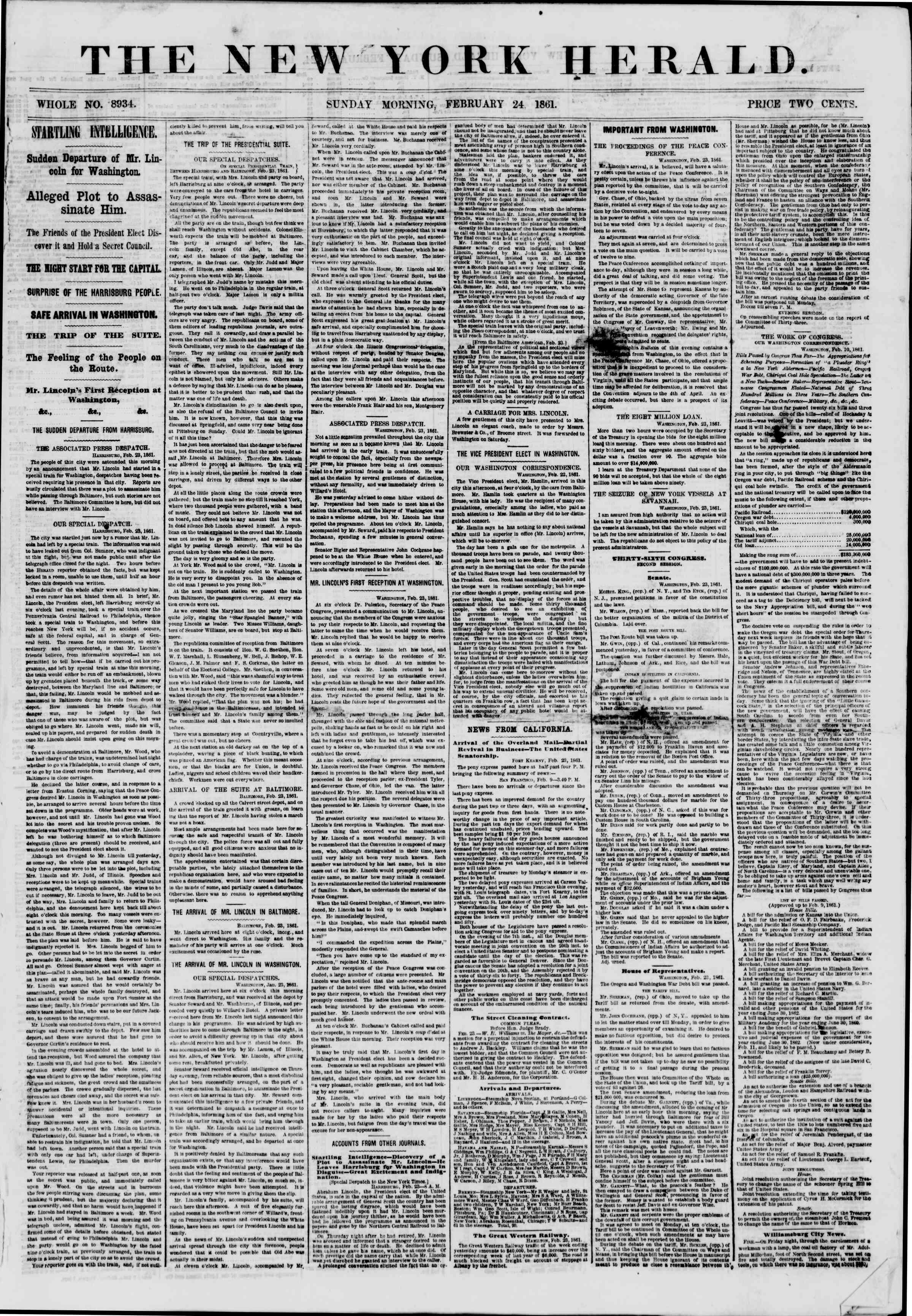 Newspaper of The New York Herald dated February 24, 1861 Page 1