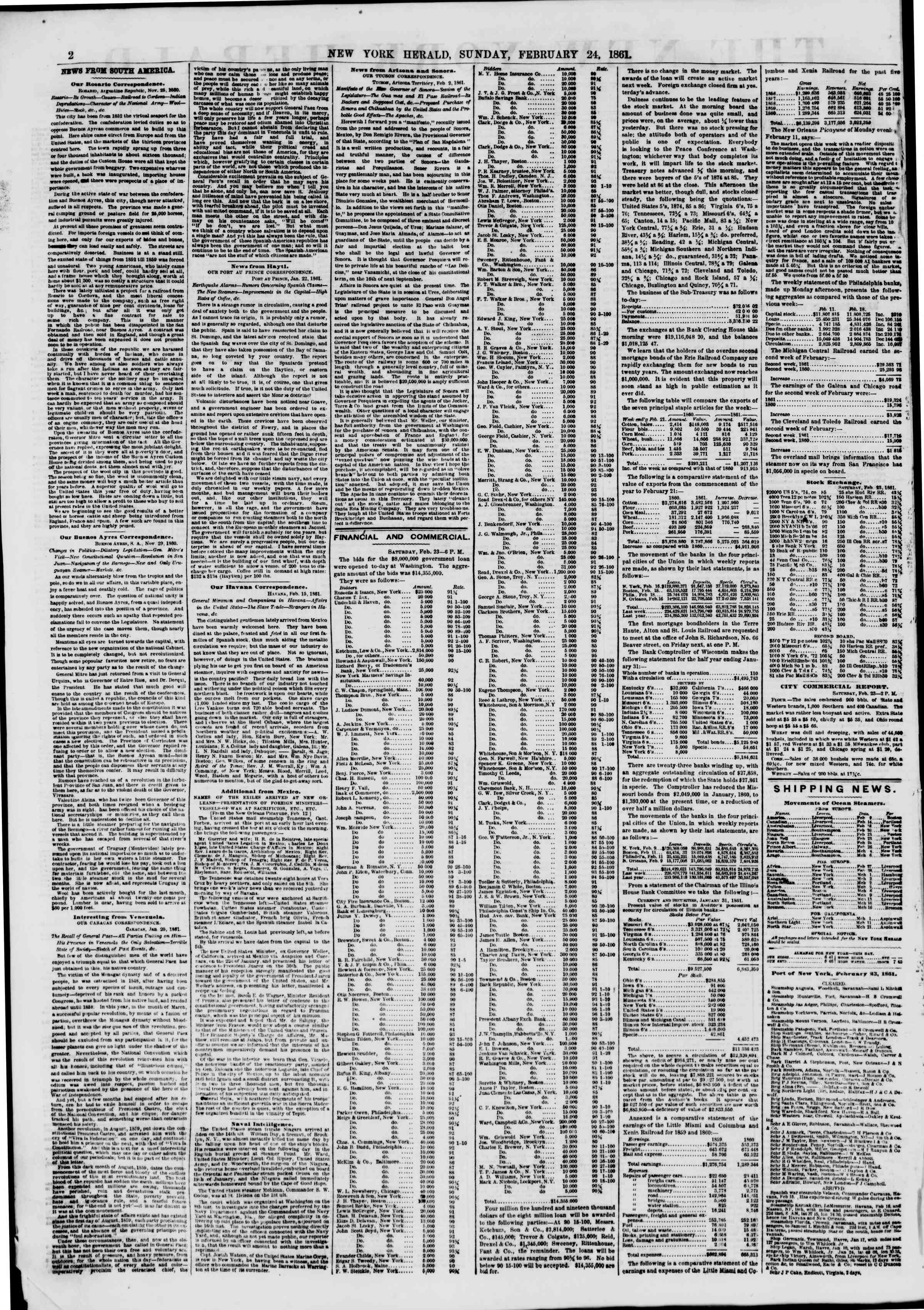 Newspaper of The New York Herald dated February 24, 1861 Page 2