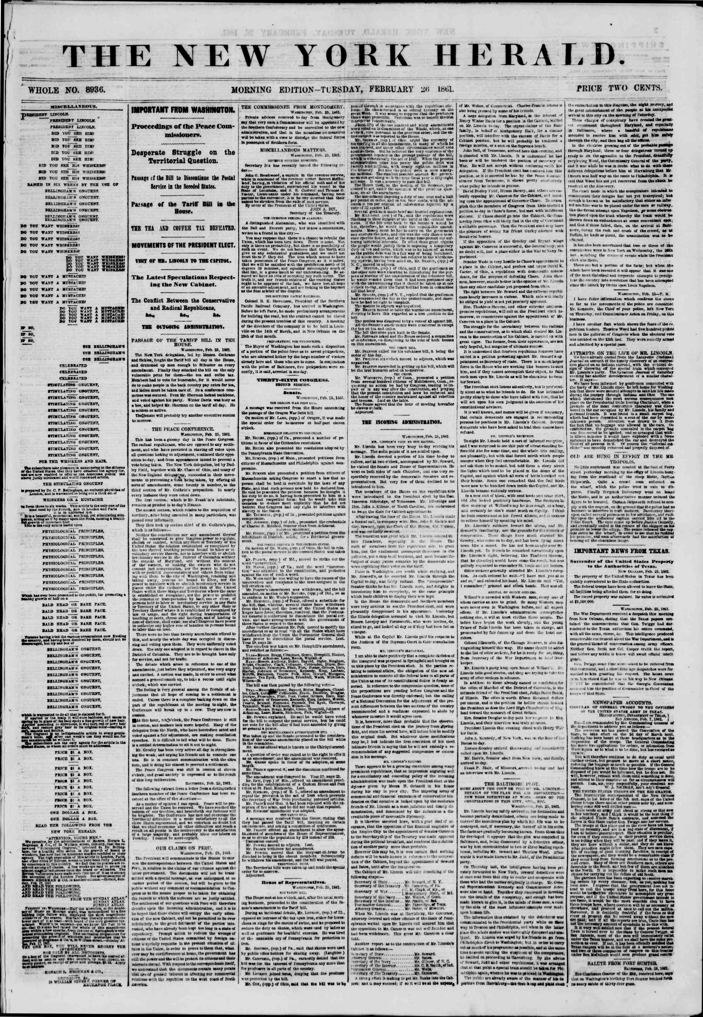 Newspaper of The New York Herald dated February 26, 1861 Page 1