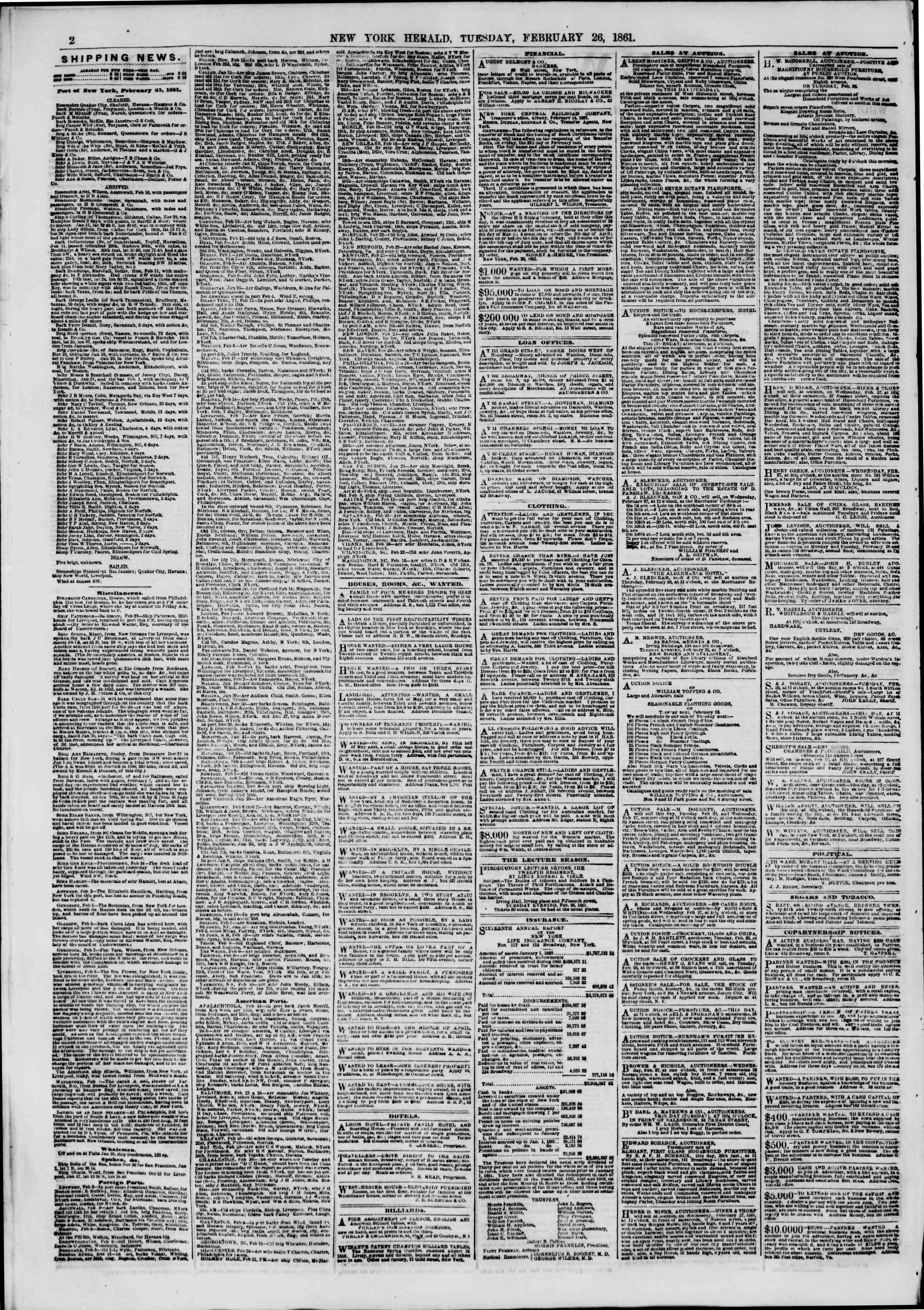 Newspaper of The New York Herald dated February 26, 1861 Page 2