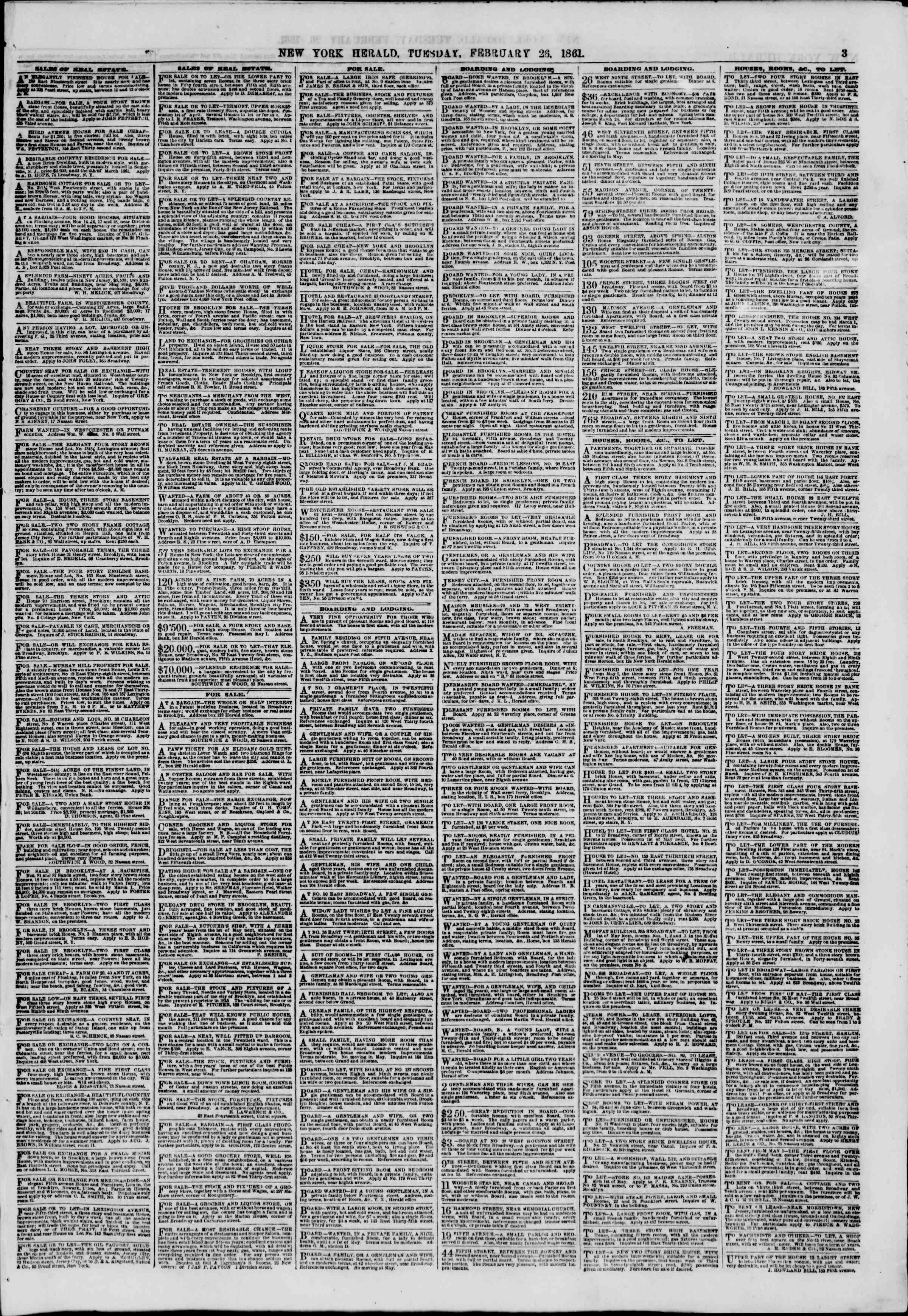 Newspaper of The New York Herald dated February 26, 1861 Page 3
