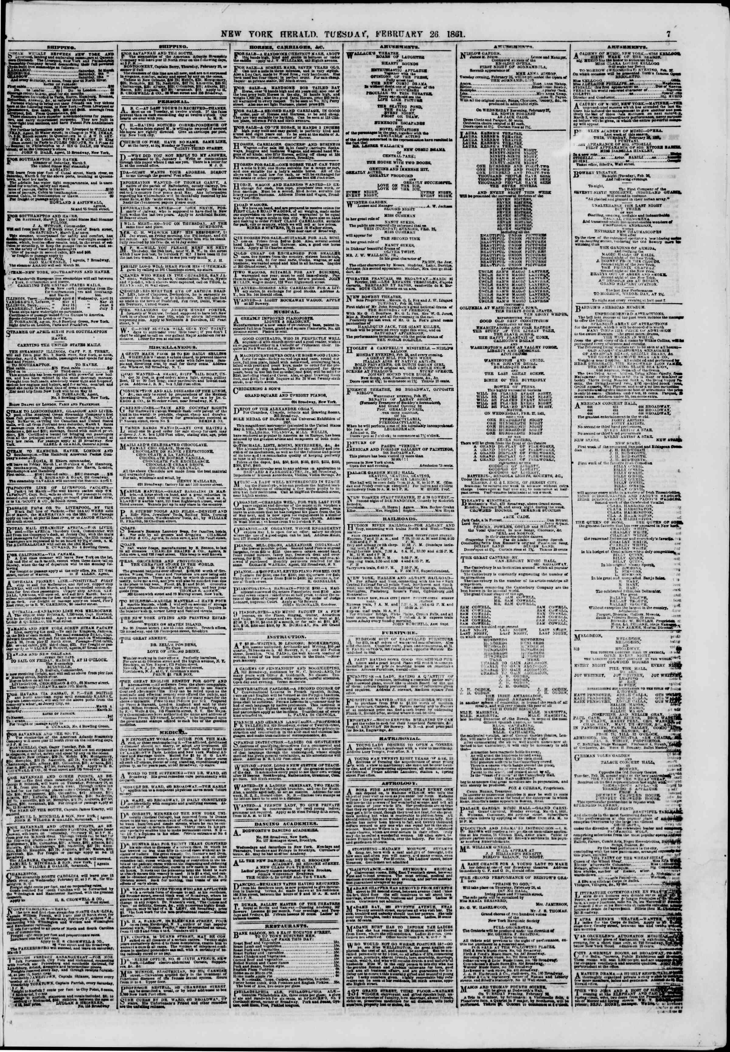 Newspaper of The New York Herald dated February 26, 1861 Page 7