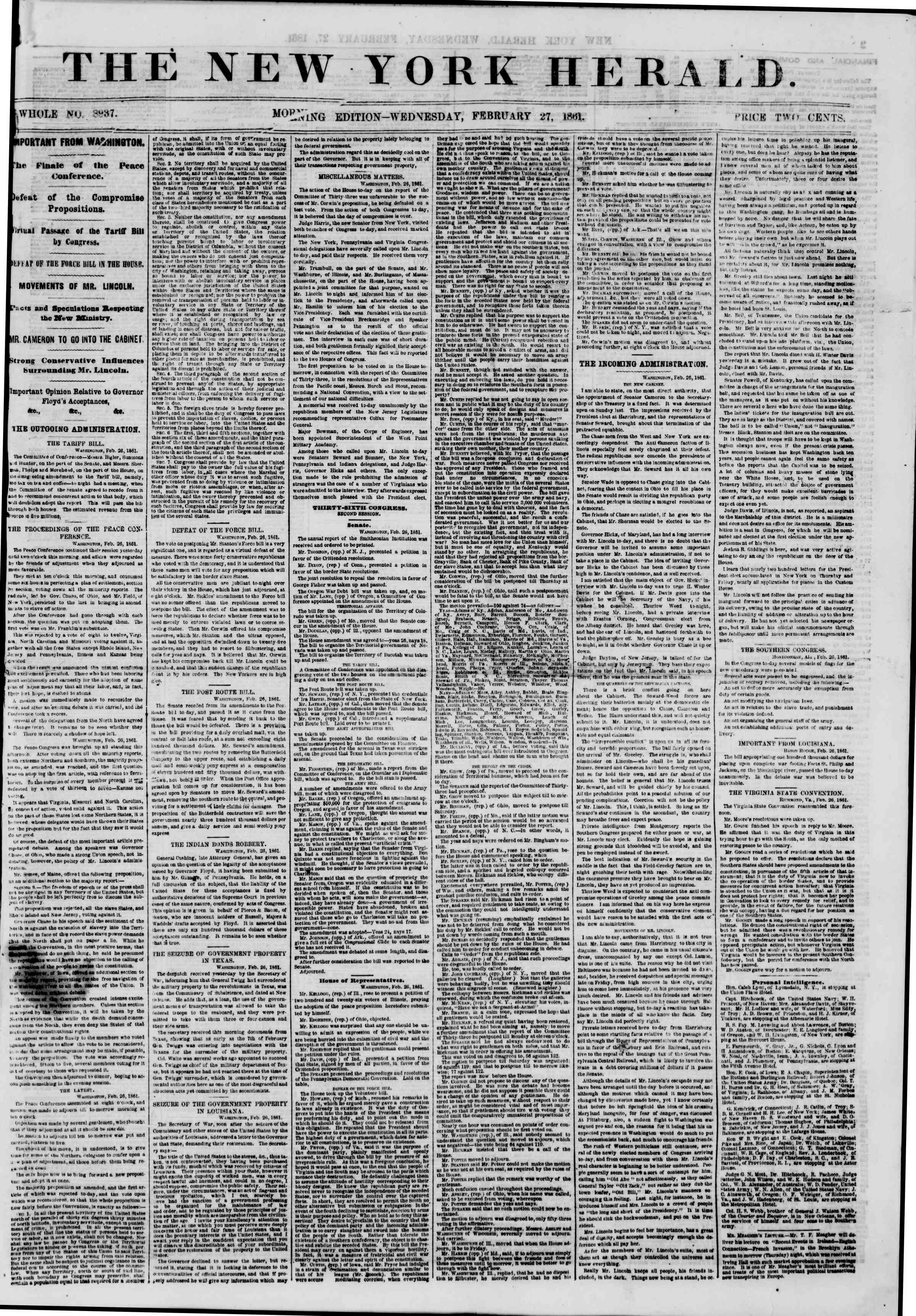 Newspaper of The New York Herald dated February 27, 1861 Page 1