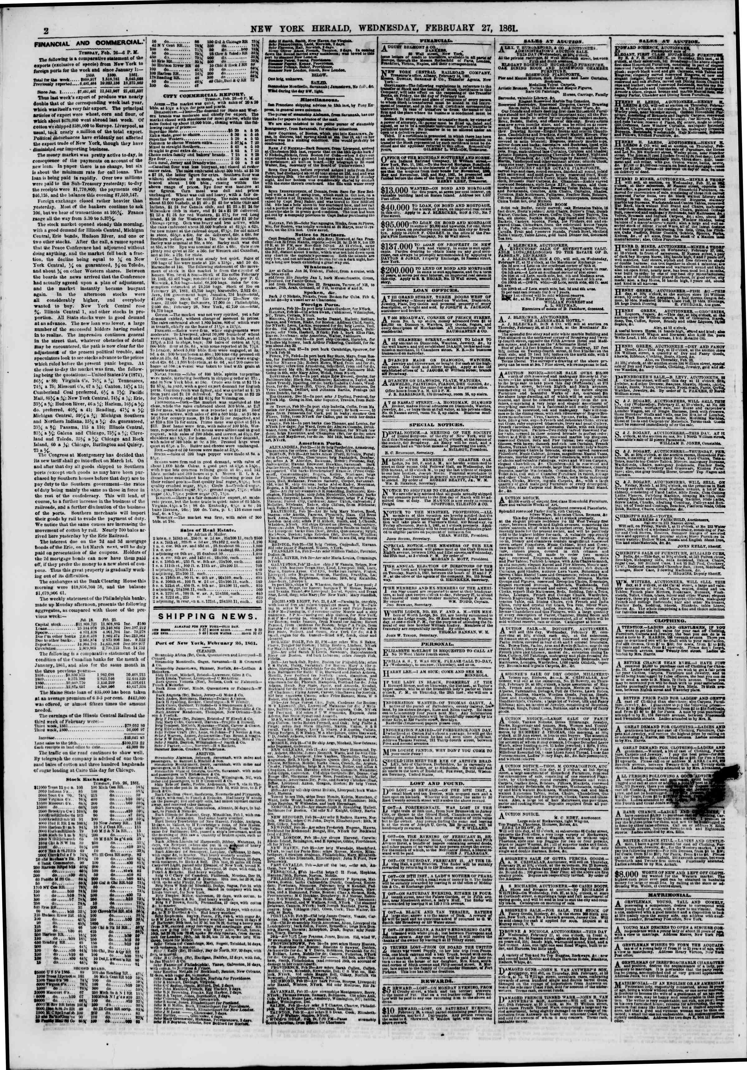 Newspaper of The New York Herald dated February 27, 1861 Page 2