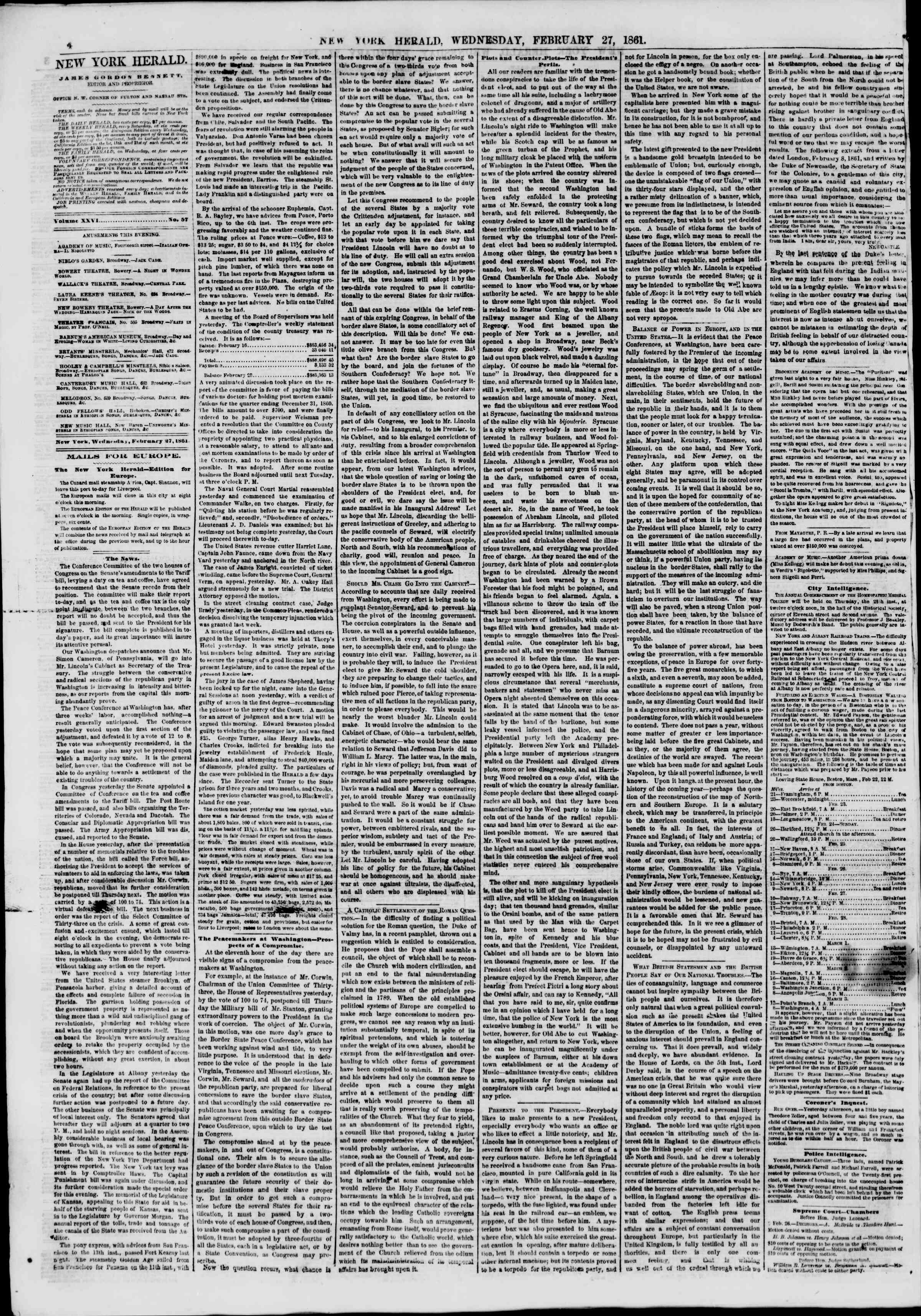 Newspaper of The New York Herald dated 27 Şubat 1861 Page 4