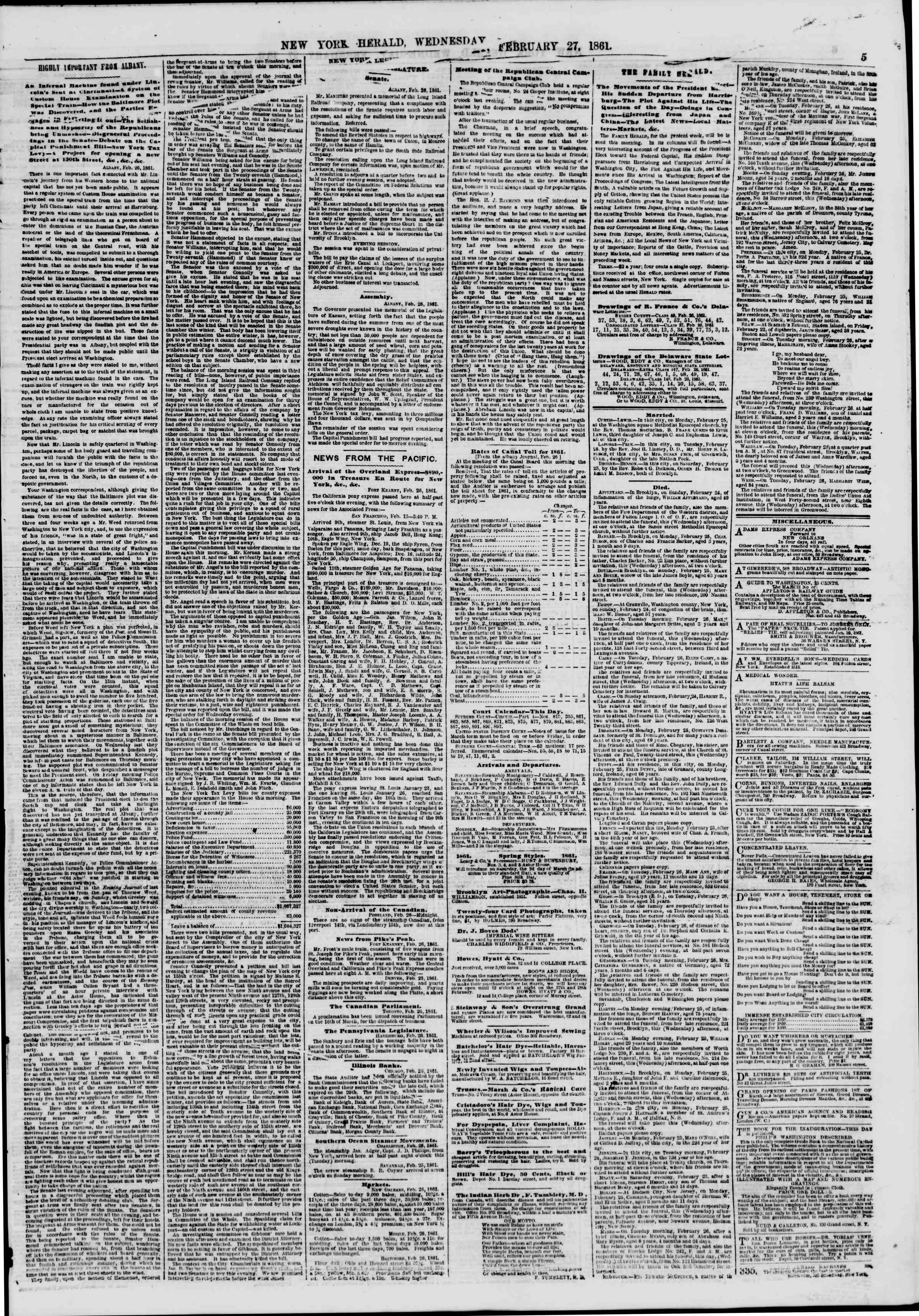 Newspaper of The New York Herald dated February 27, 1861 Page 5