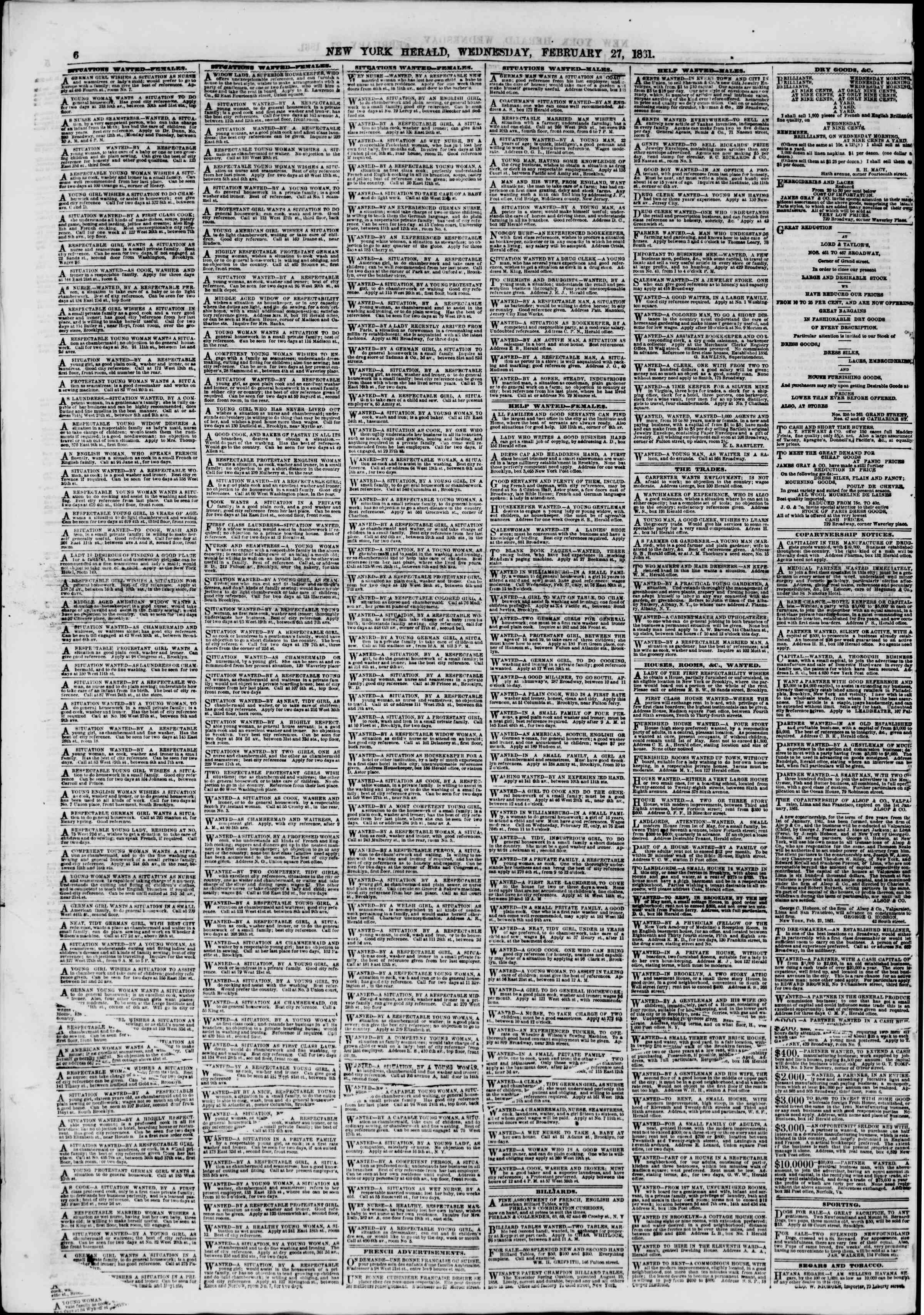 Newspaper of The New York Herald dated February 27, 1861 Page 6