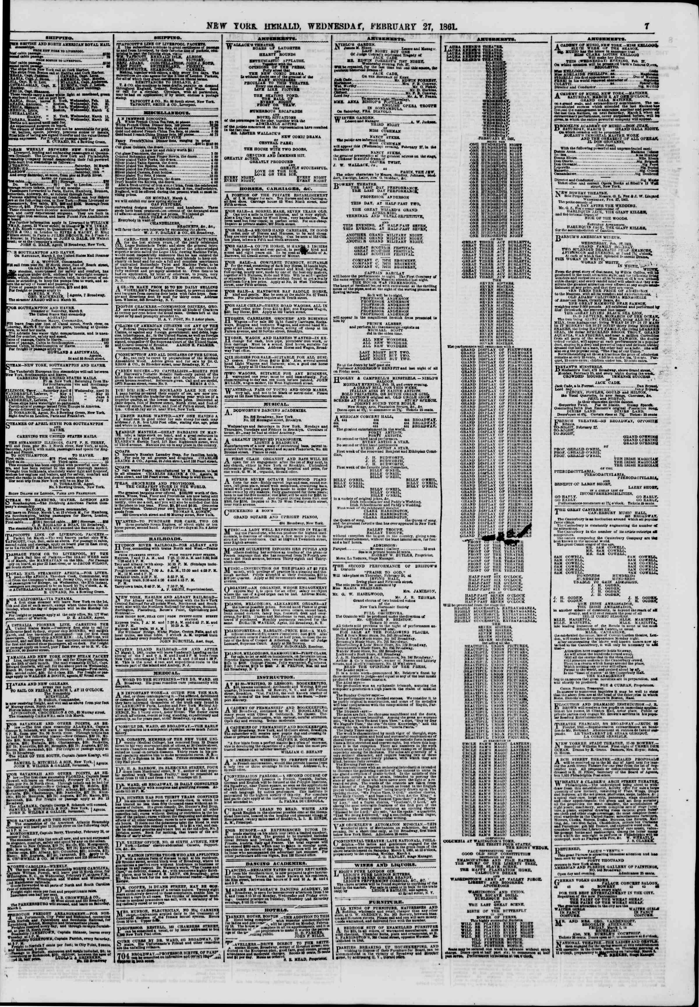 Newspaper of The New York Herald dated February 27, 1861 Page 7