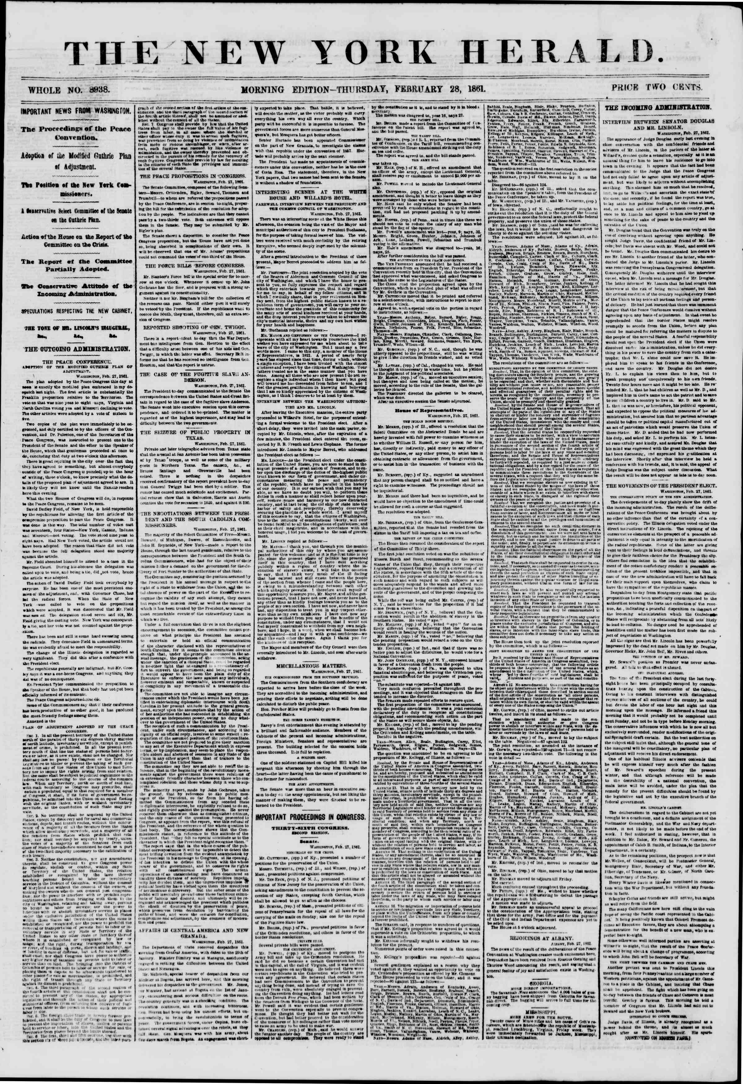 Newspaper of The New York Herald dated February 28, 1861 Page 1