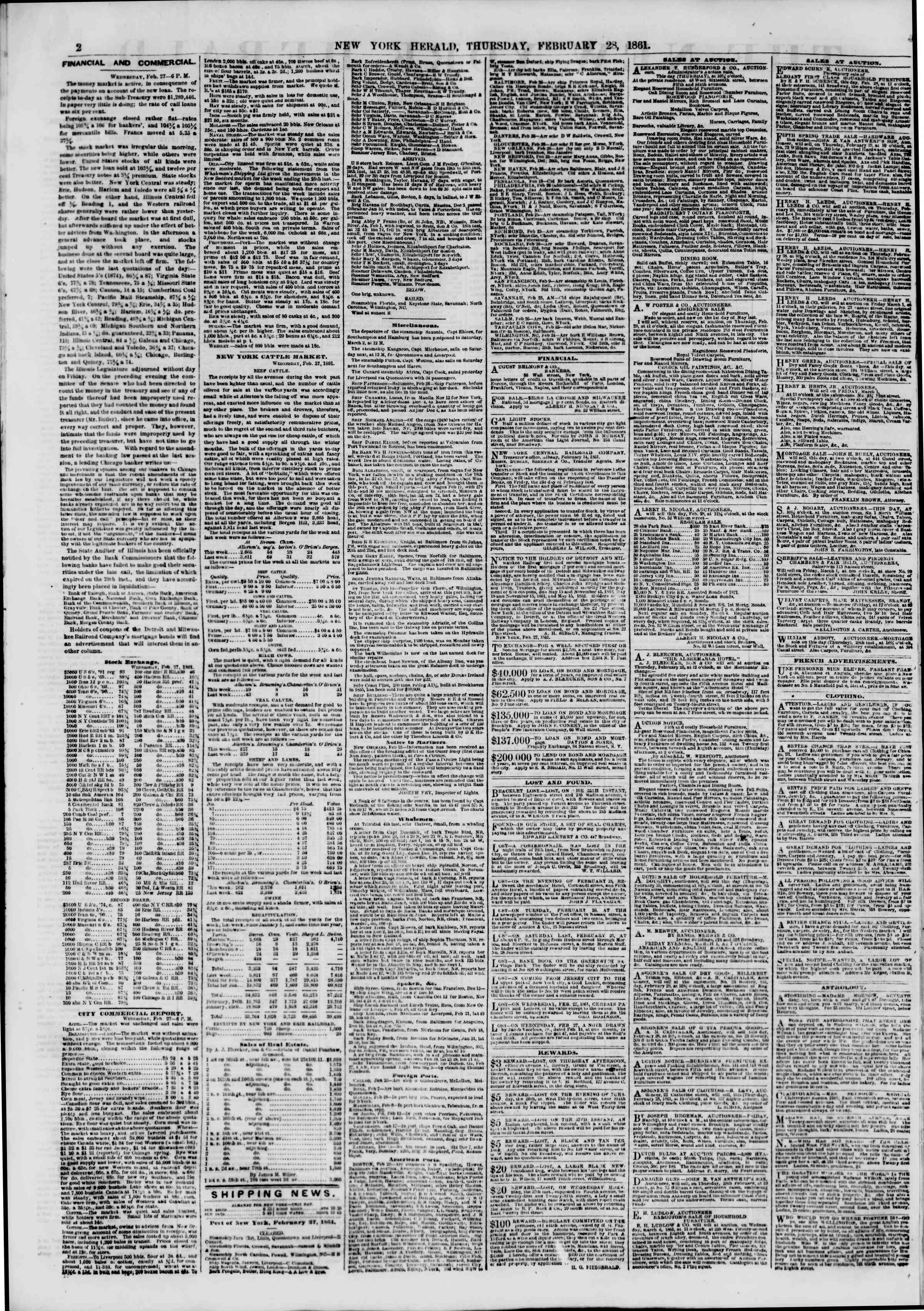 Newspaper of The New York Herald dated February 28, 1861 Page 2