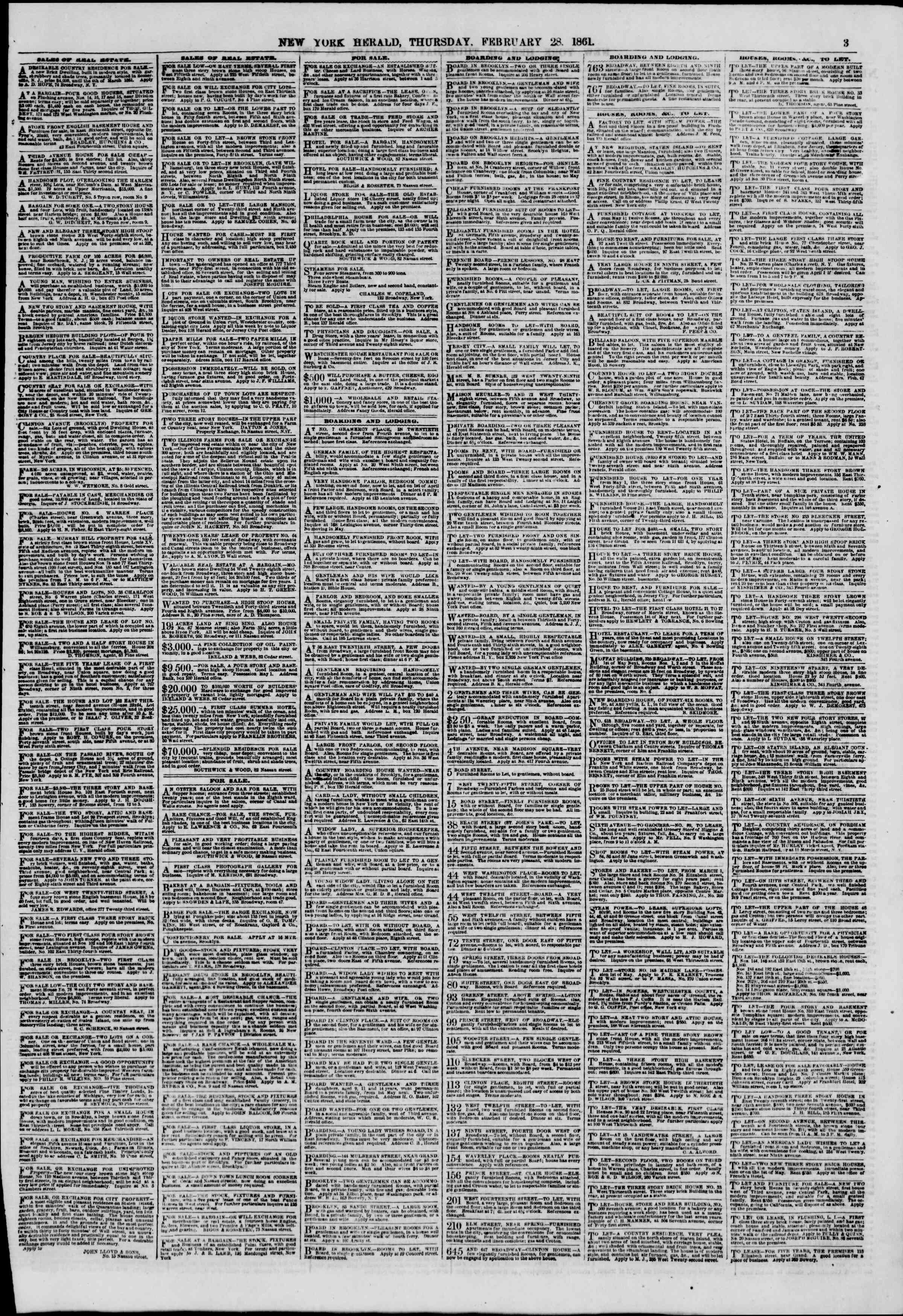 Newspaper of The New York Herald dated 28 Şubat 1861 Page 3