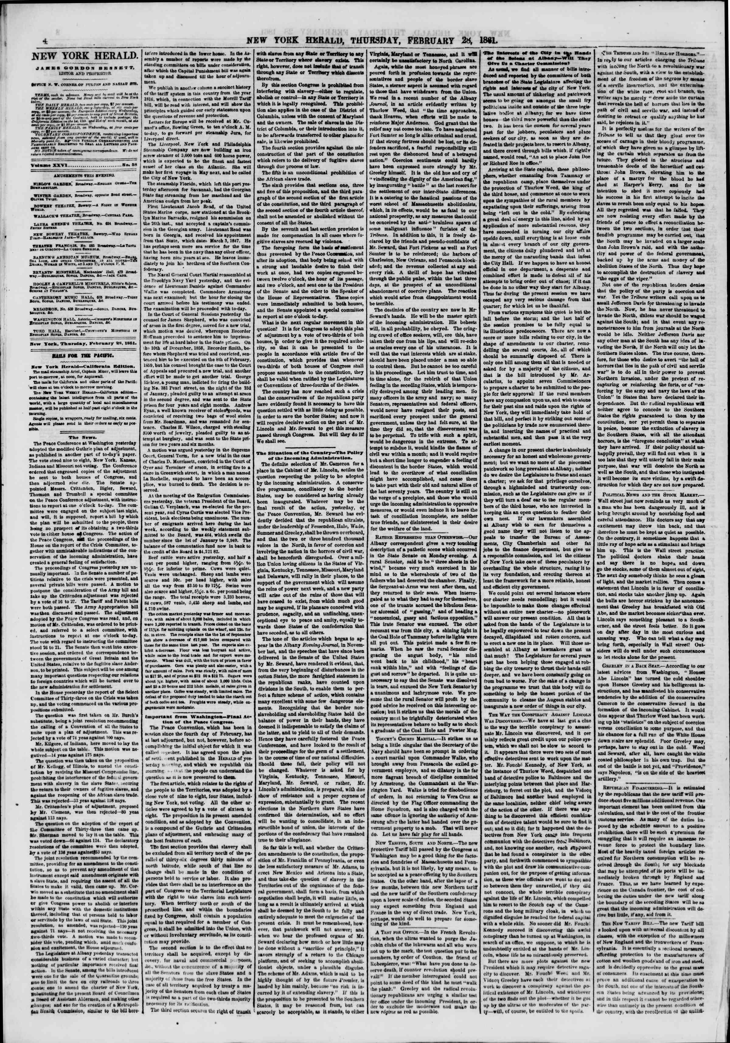 Newspaper of The New York Herald dated February 28, 1861 Page 4
