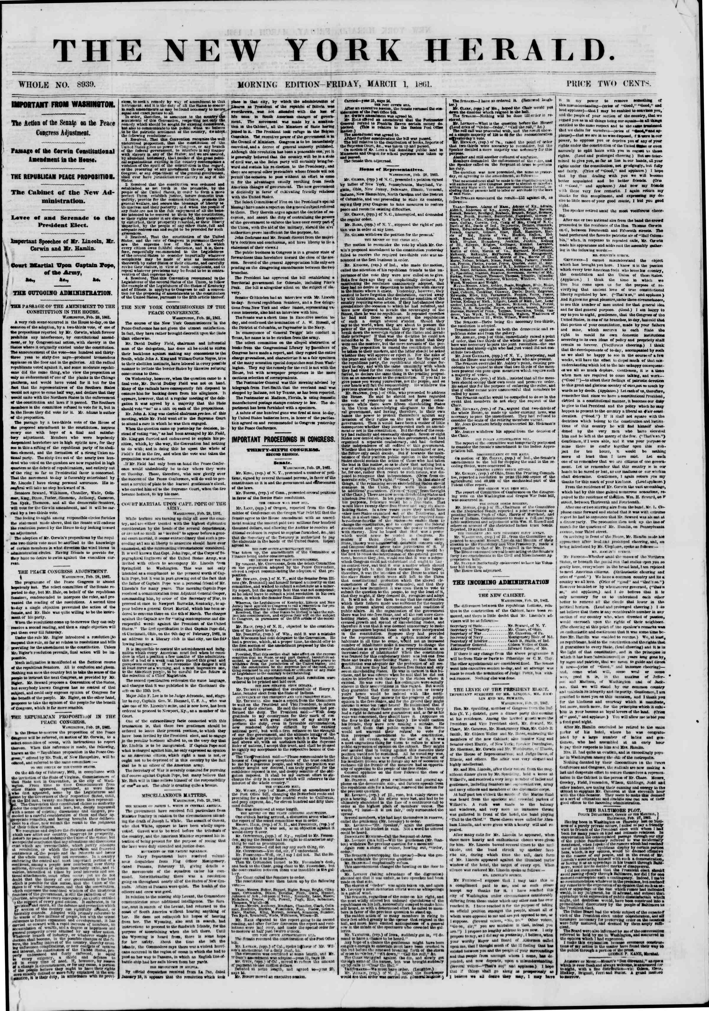 Newspaper of The New York Herald dated March 1, 1861 Page 1