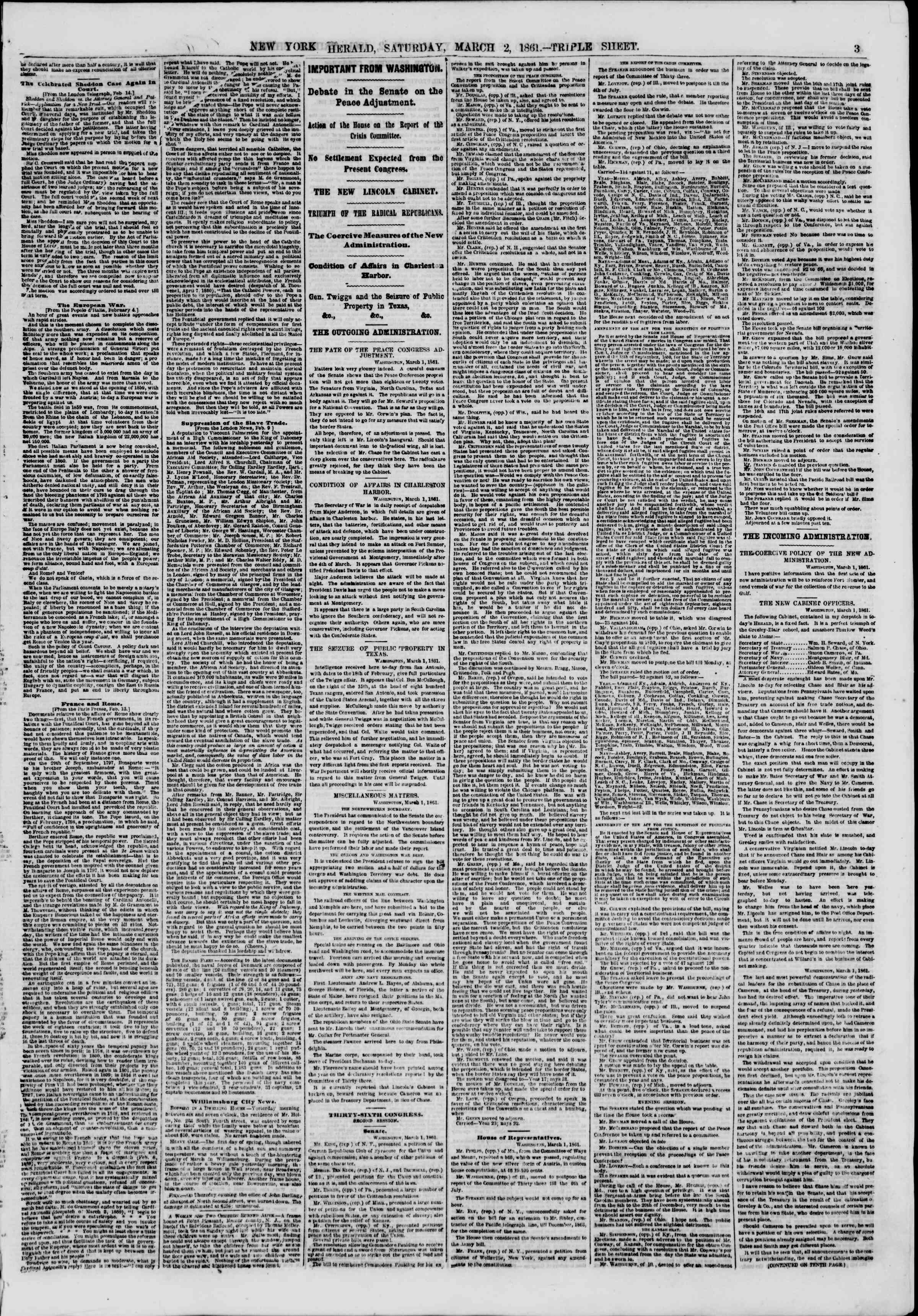 Newspaper of The New York Herald dated March 2, 1861 Page 3