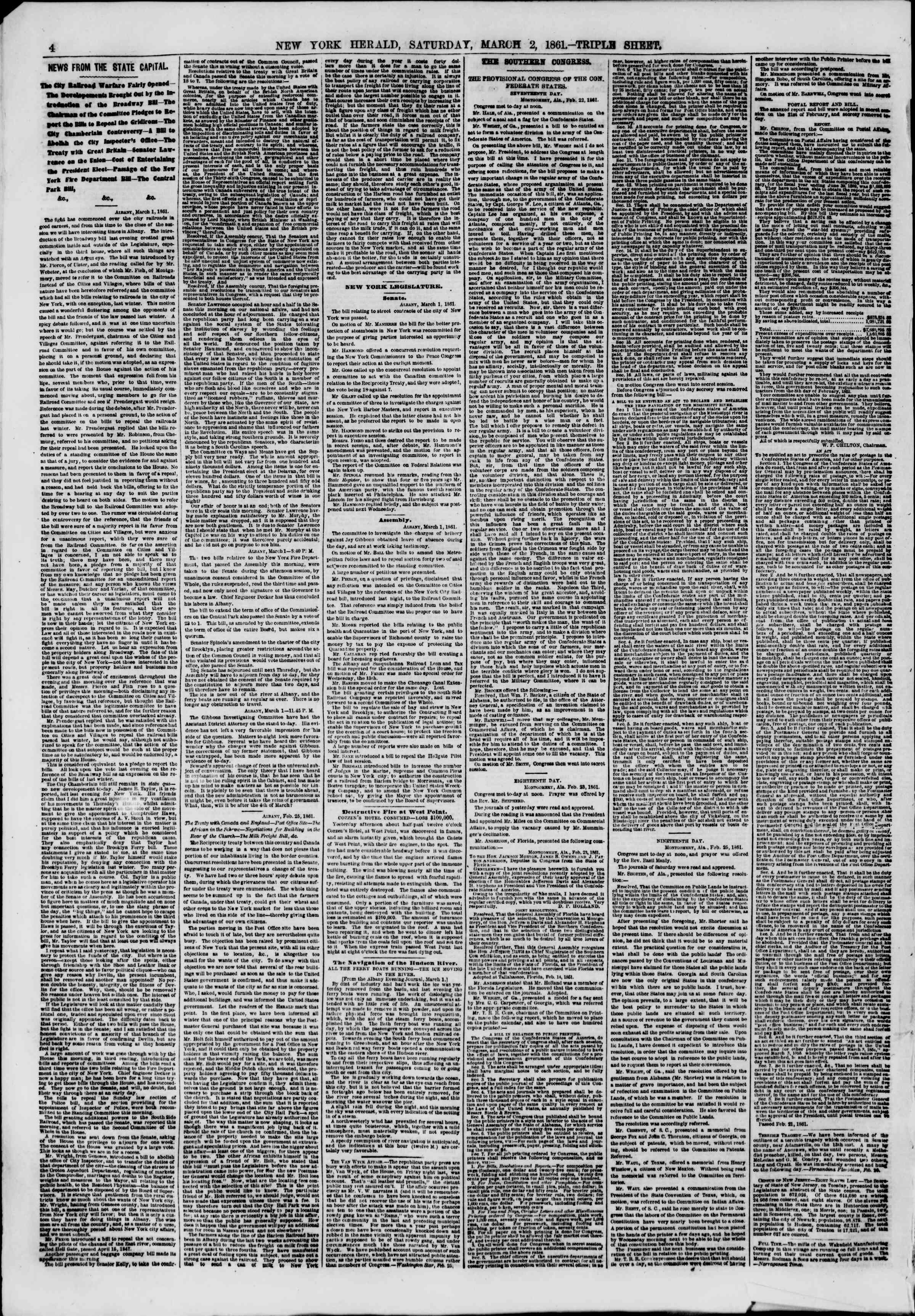 Newspaper of The New York Herald dated March 2, 1861 Page 4