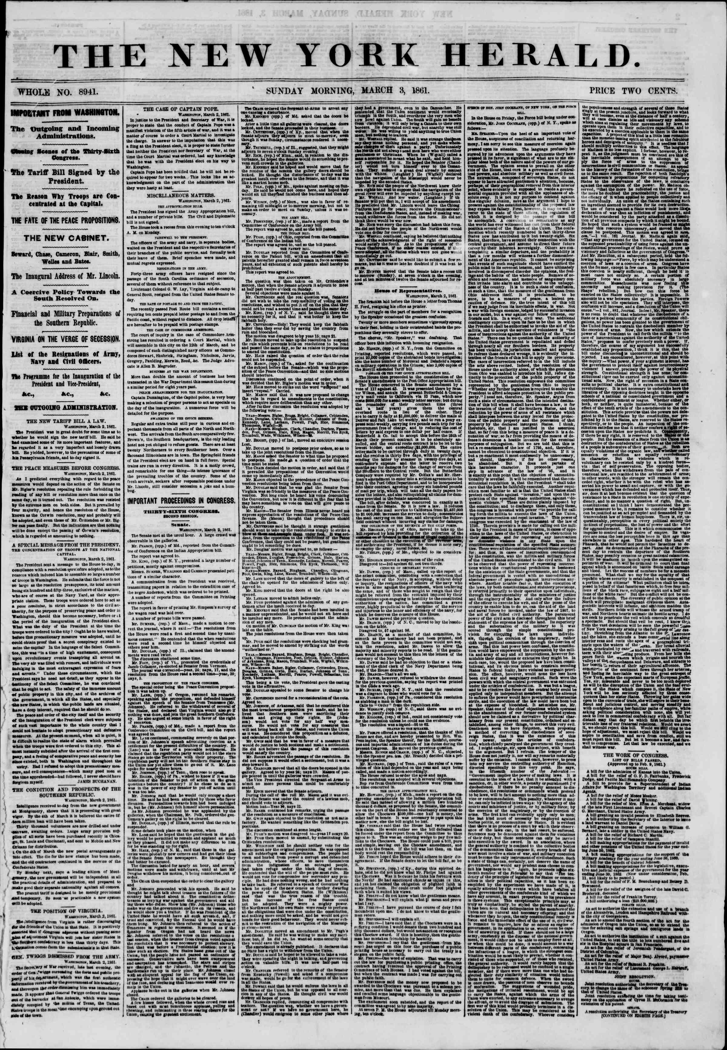 Newspaper of The New York Herald dated March 3, 1861 Page 1