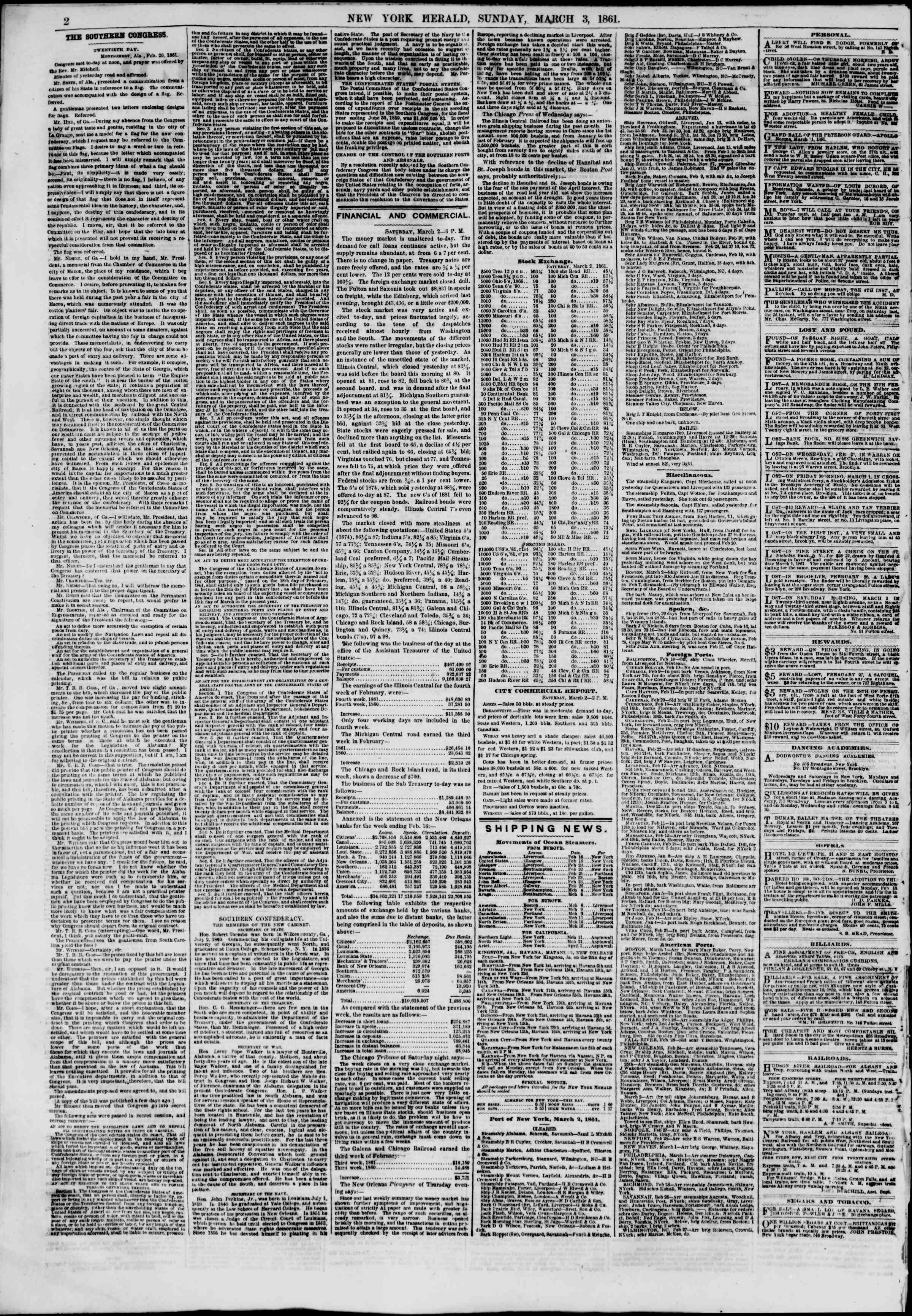 Newspaper of The New York Herald dated March 3, 1861 Page 2