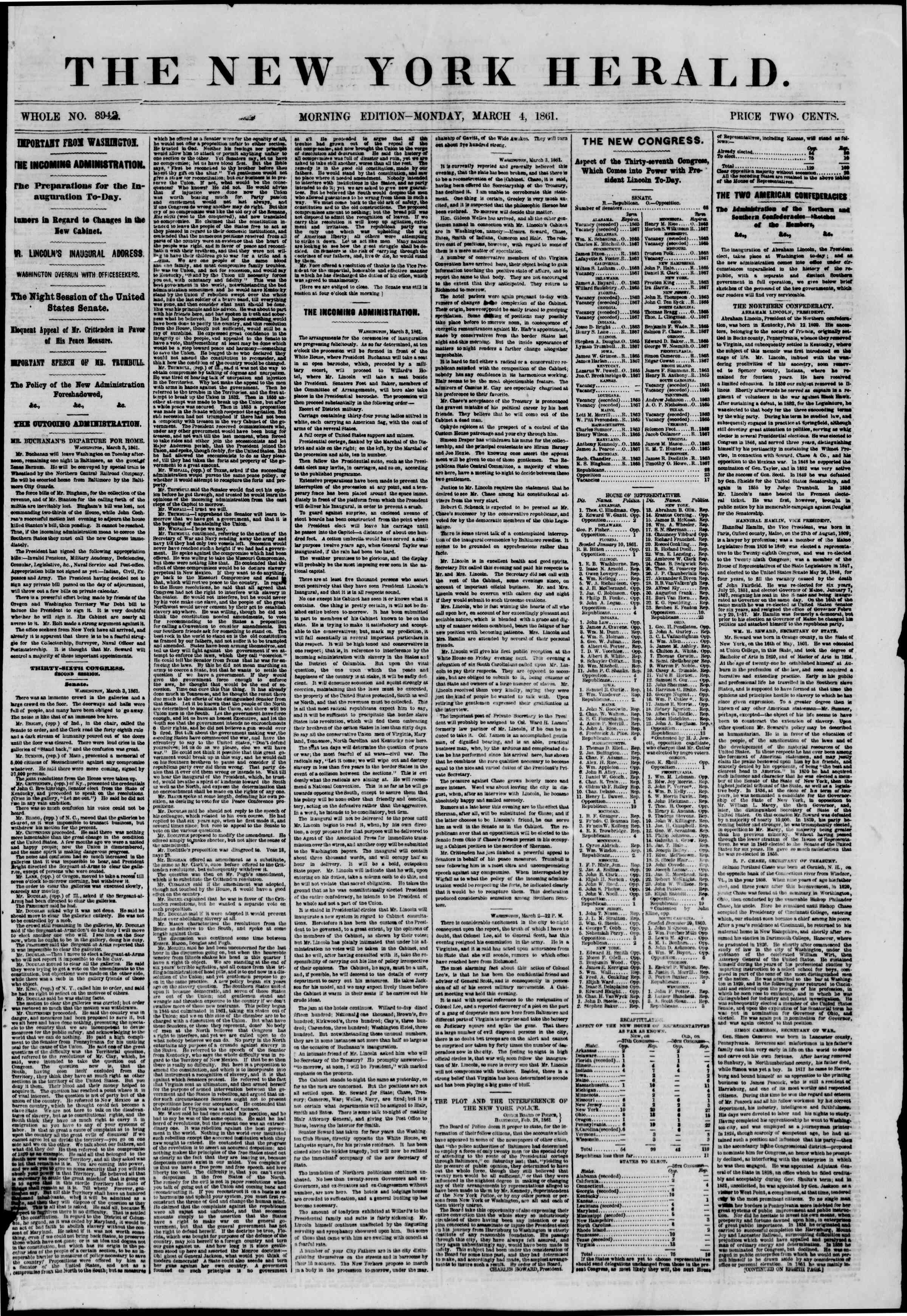 Newspaper of The New York Herald dated March 4, 1861 Page 1