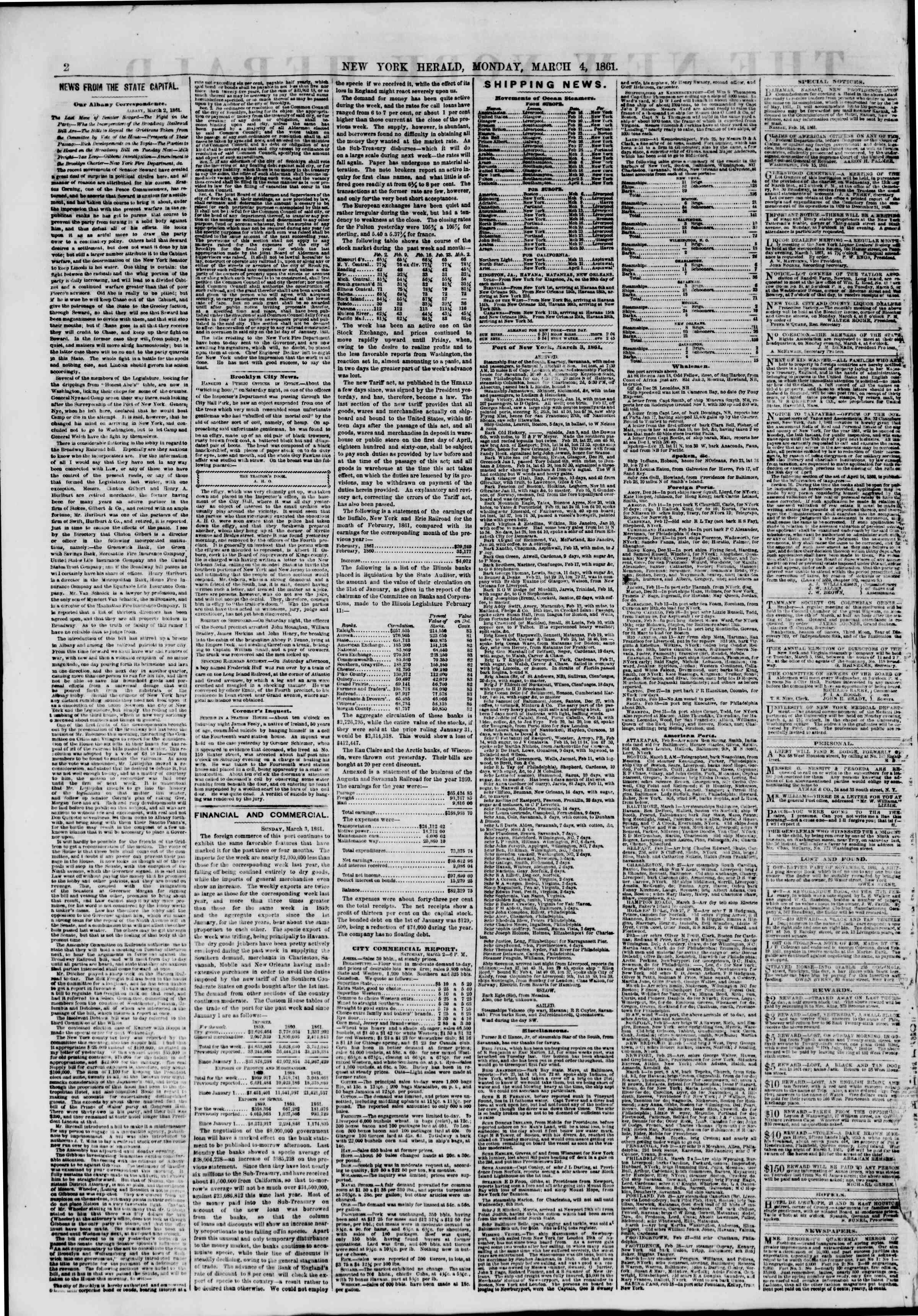 Newspaper of The New York Herald dated March 4, 1861 Page 2