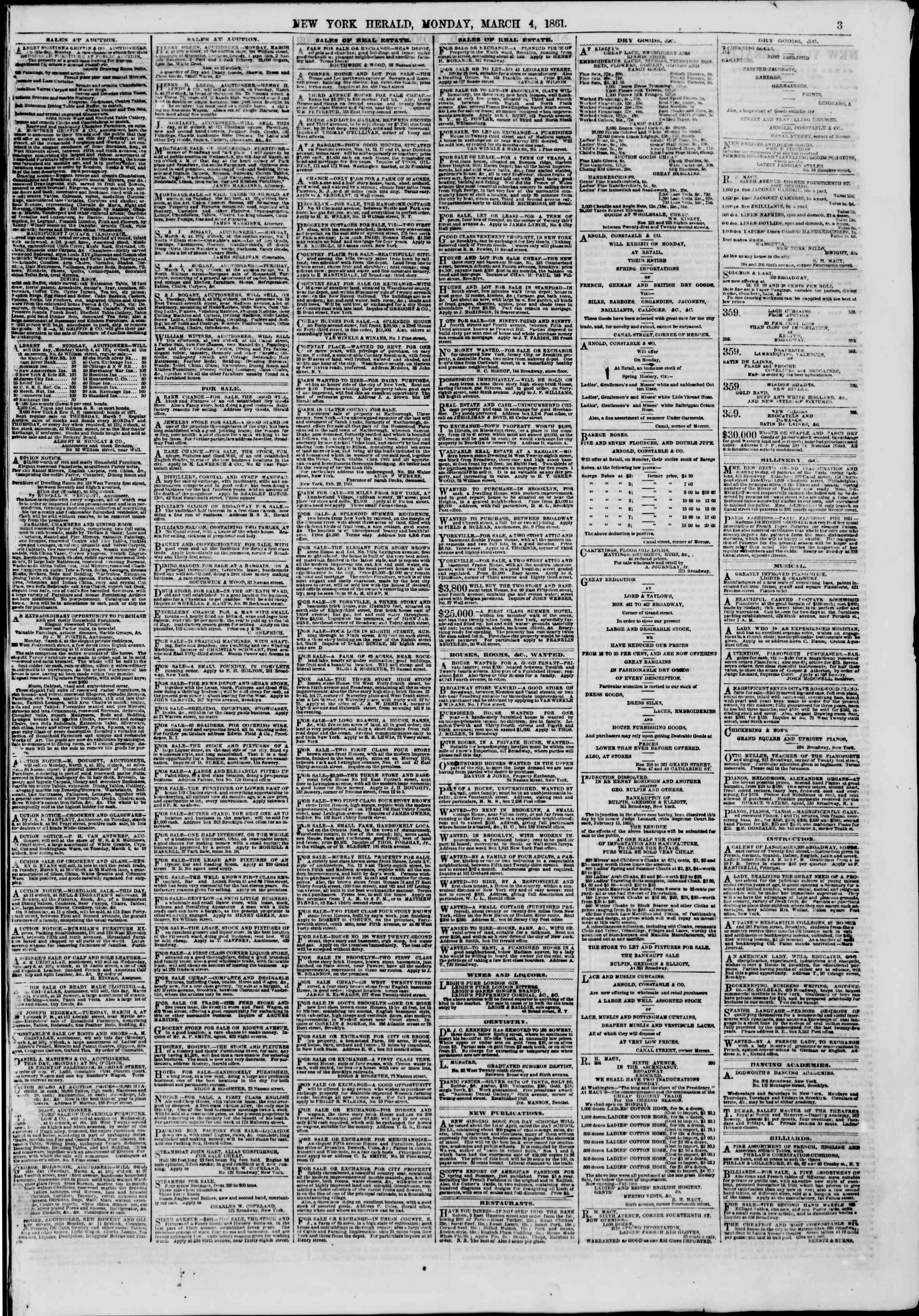 Newspaper of The New York Herald dated March 4, 1861 Page 3