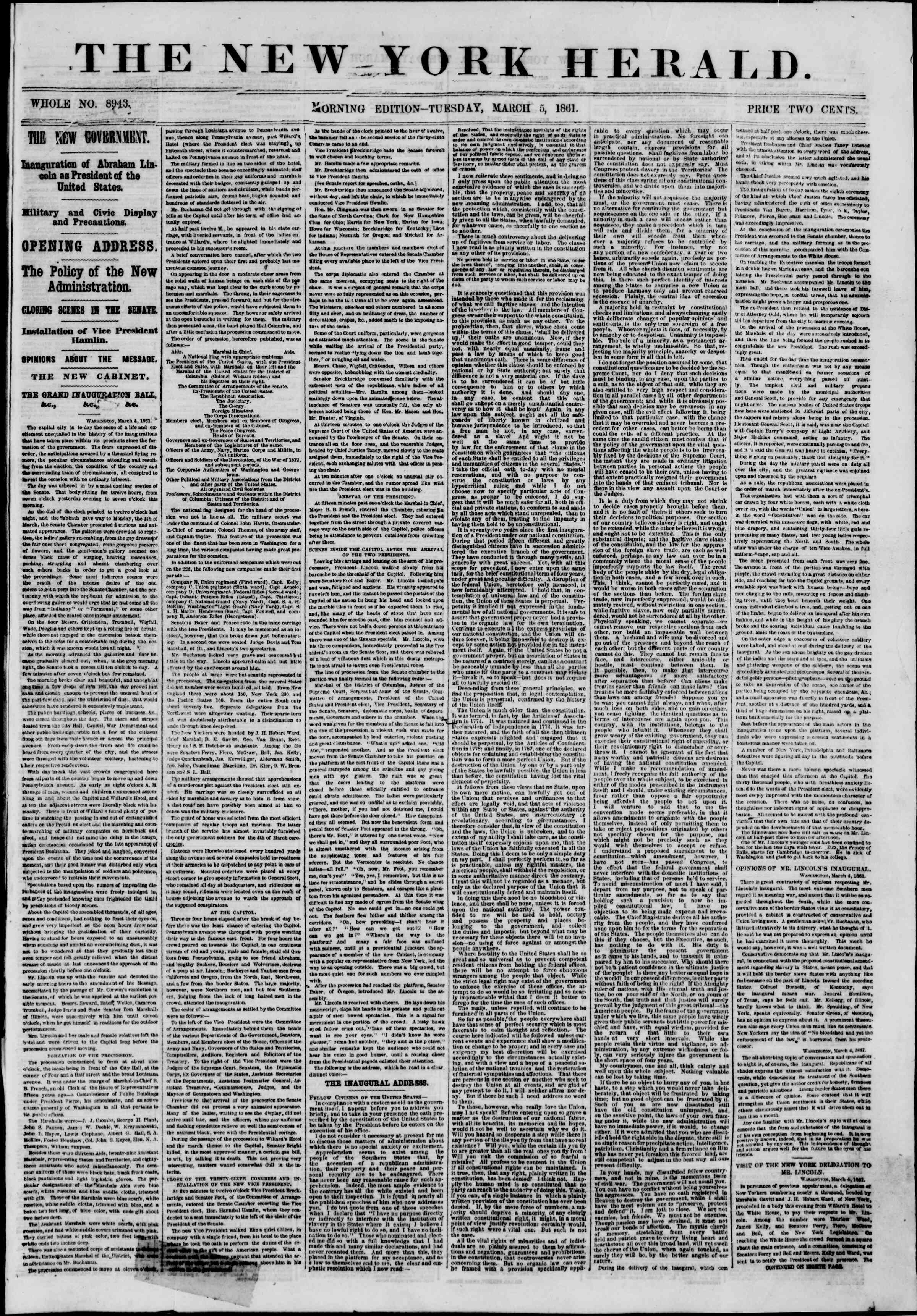 Newspaper of The New York Herald dated March 5, 1861 Page 1