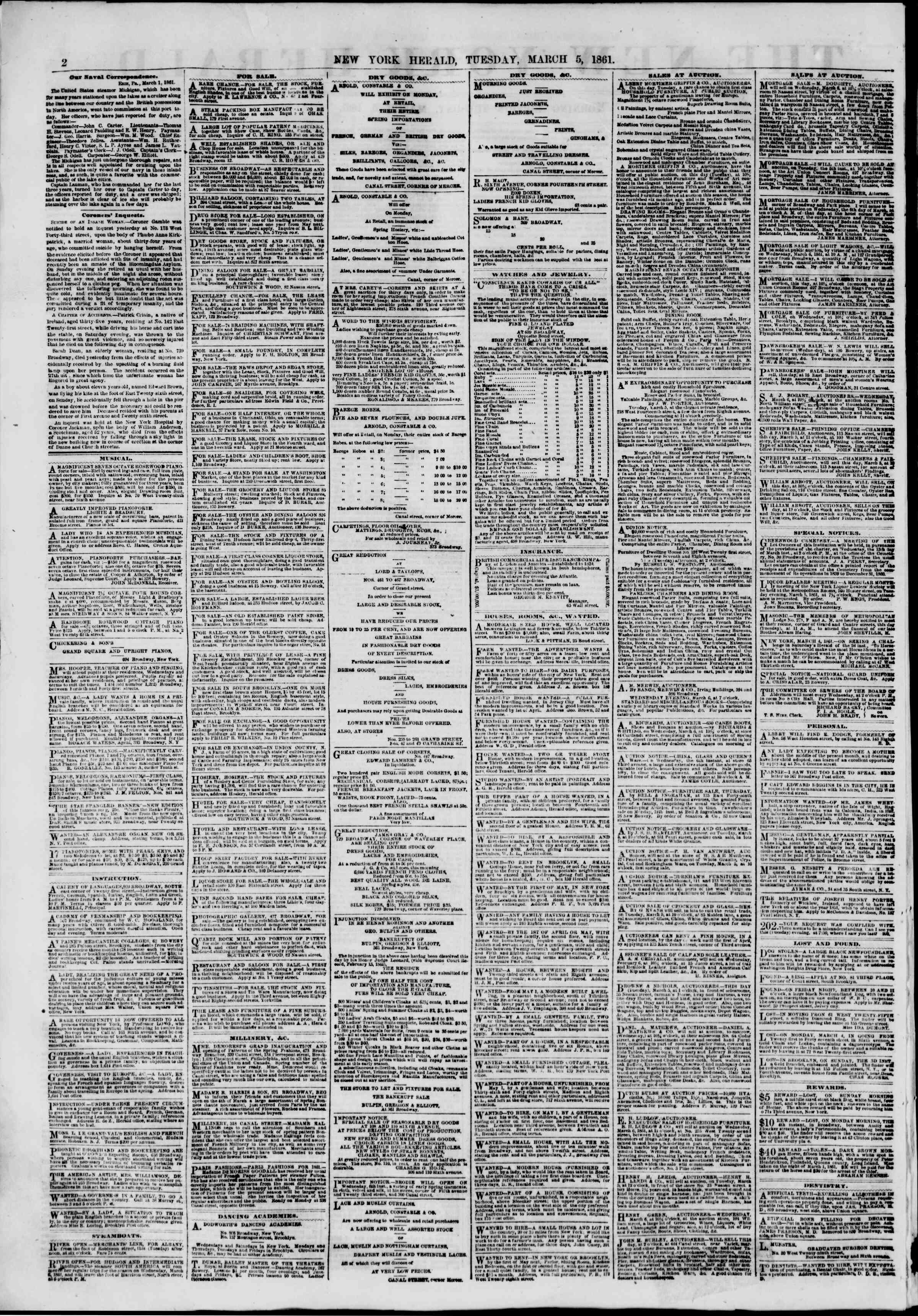 Newspaper of The New York Herald dated March 5, 1861 Page 2